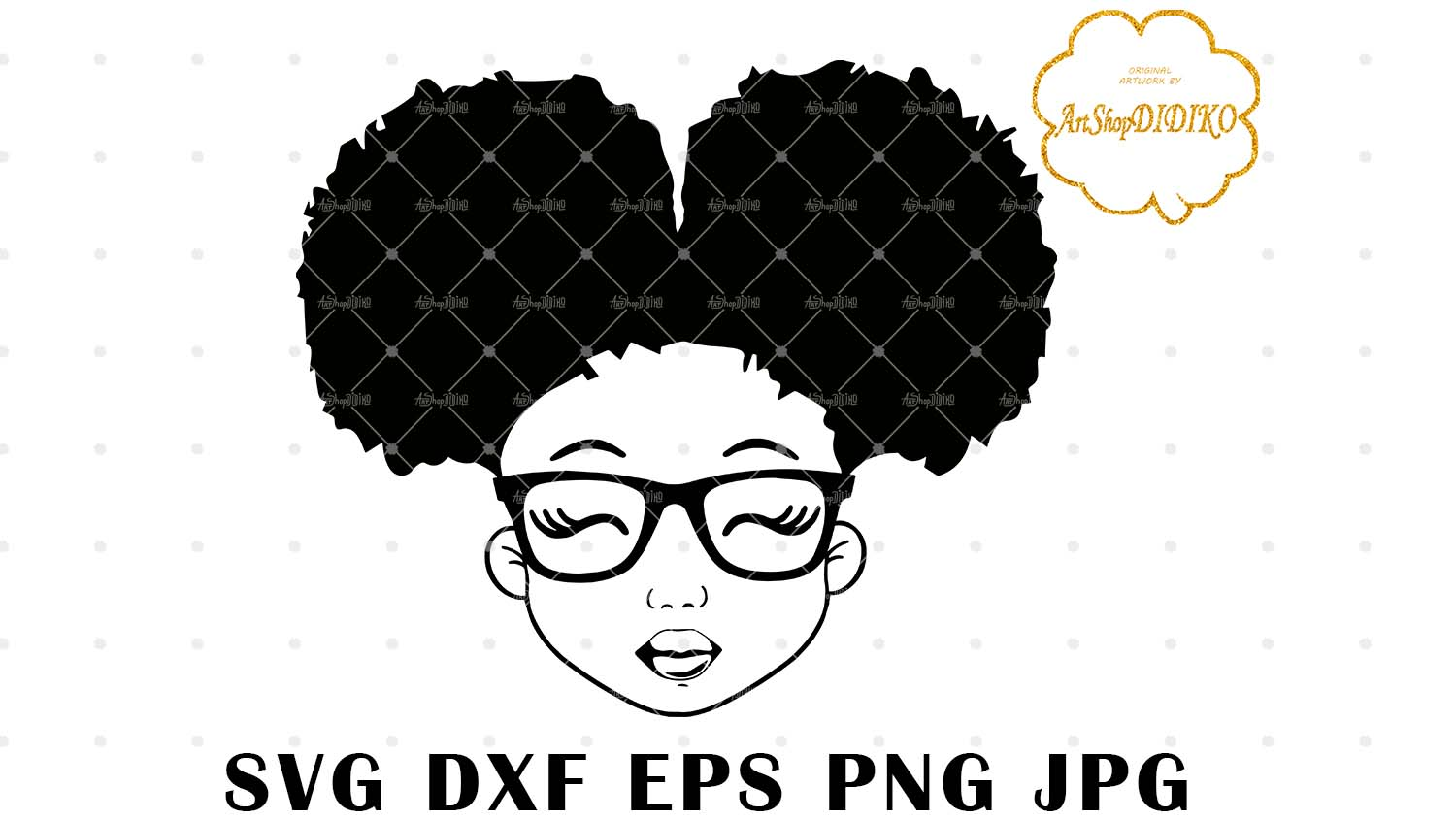 Download Cute Afro Girl With Glasses Silhouette SVG, Afro Puff Girl ...