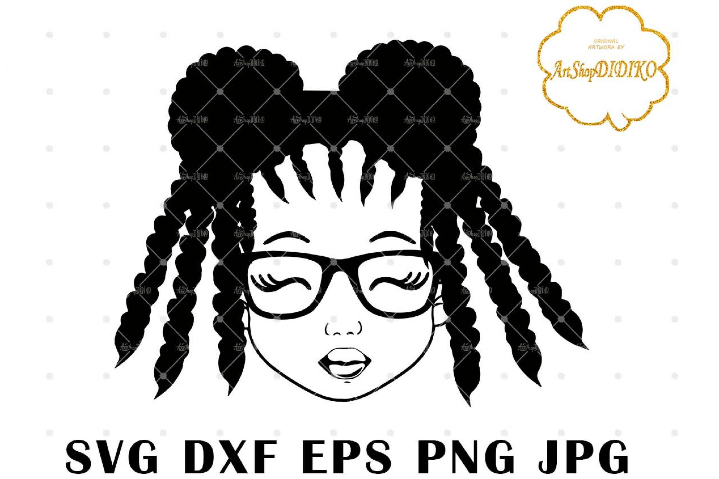 Cute Afro Girl With Glasses Silhouette SVG, Afro Puff Girl SVG, Afro Kid SVG, African American Girl SVG, DXF, EPS, PNG, JPG, Silhouette Files, Cricut Cut Files