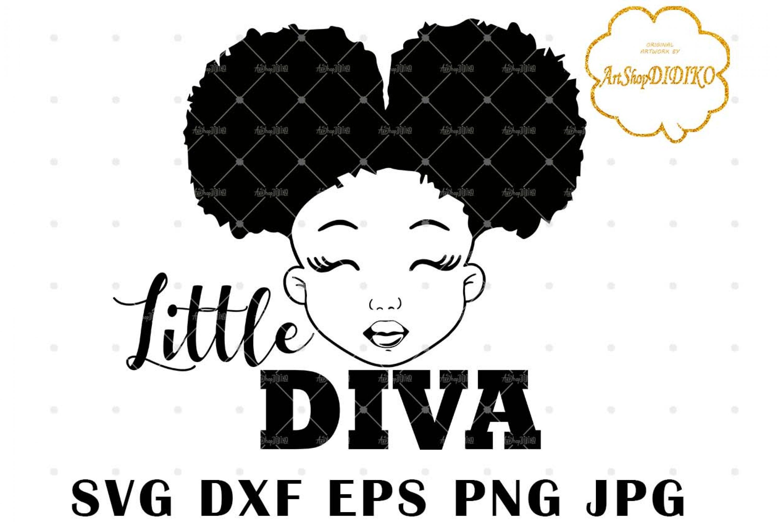 Little Diva SVG, Cute Afro Girl Silhouette SVG, Afro Puff Girl SVG, Afro Kid SVG, African American Girl SVG, DXF, EPS, PNG, JPG, Silhouette Files, Cricut Cut Files