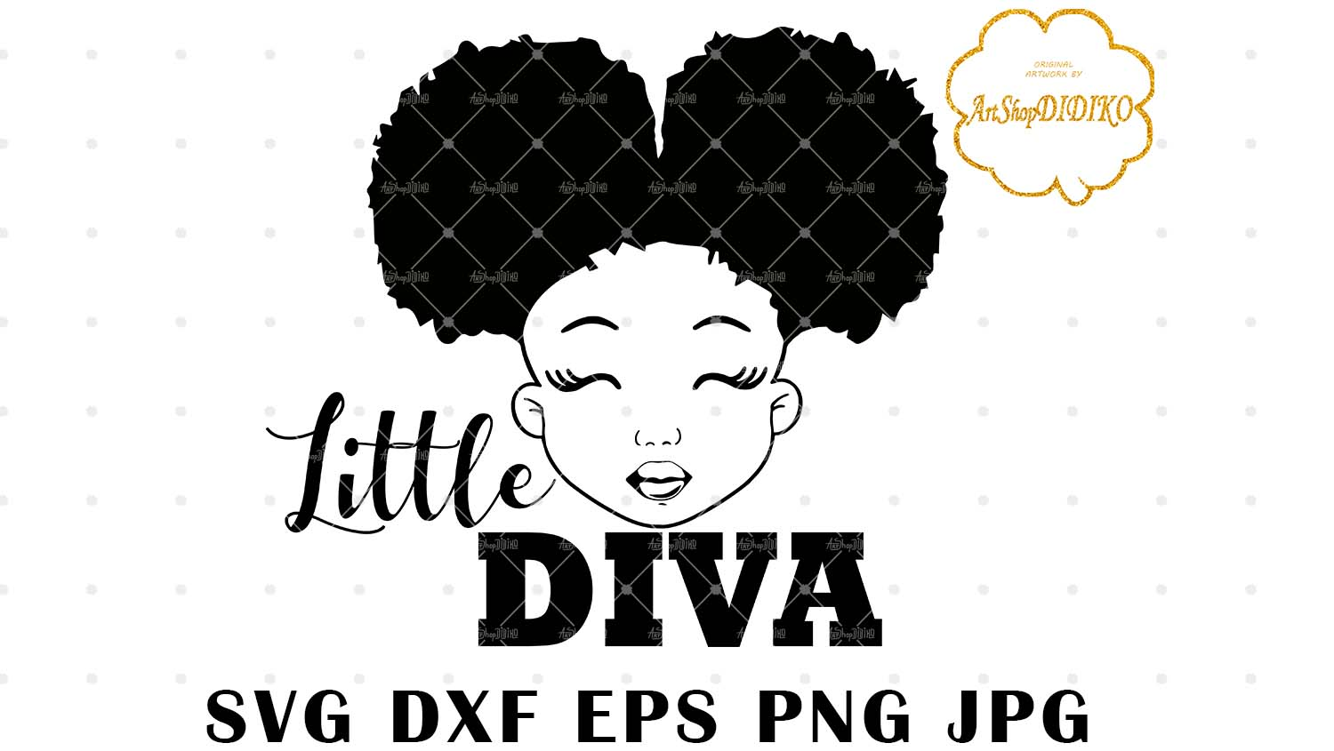 Download Little Diva SVG, Cute Afro Girl Silhouette SVG, Afro Puff ...