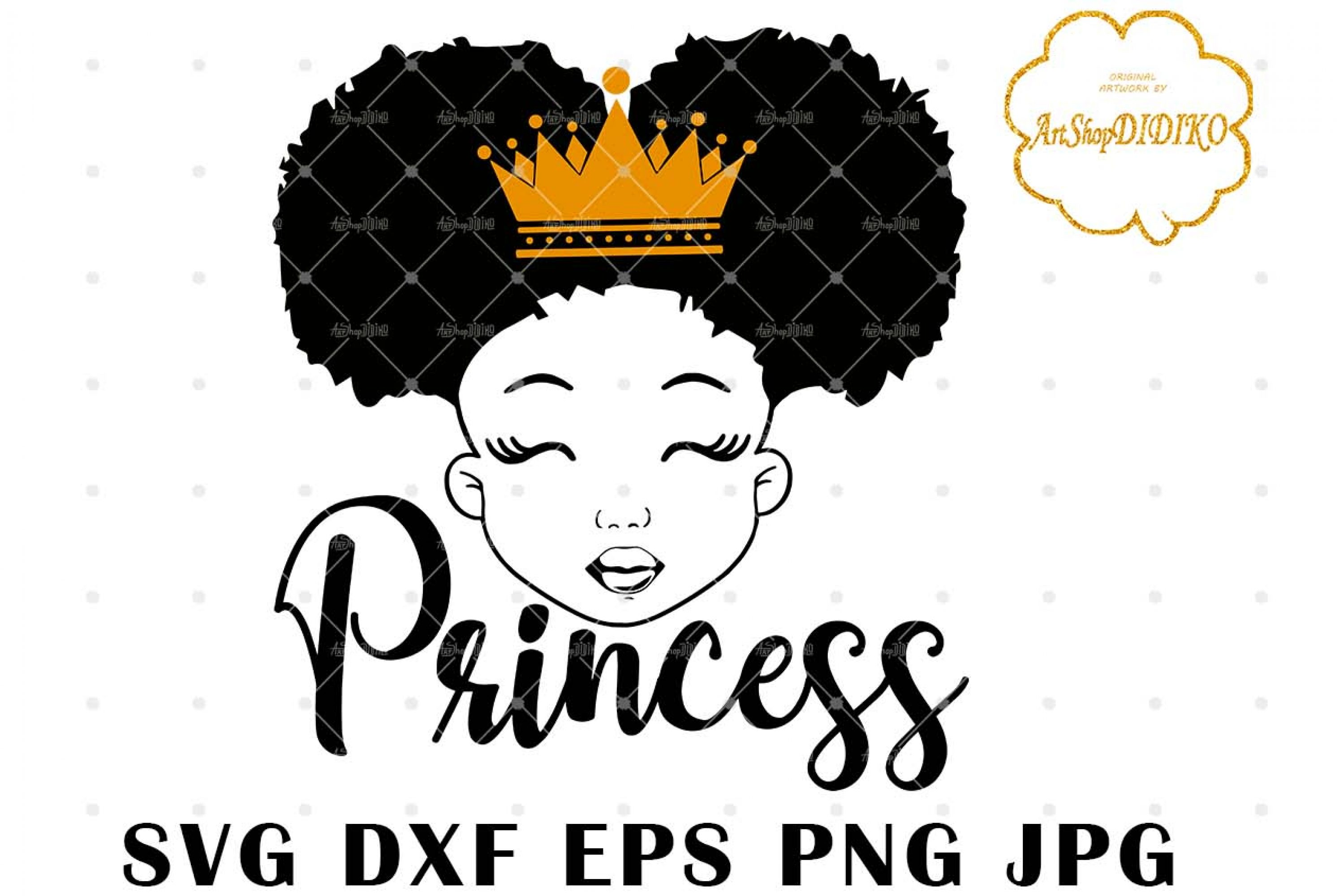 Cute Afro Girl Silhouette SVG, Afro Princess SVG, Afro Puff Girl SVG, Afro Kid SVG, African American Girl SVG, DXF, EPS, PNG, JPG, Silhouette Files, Cricut Cut Files