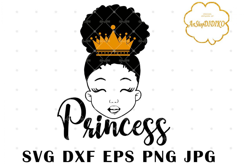 Afro Princess SVG #2, Black Girl Crown Svg, Afro Puff