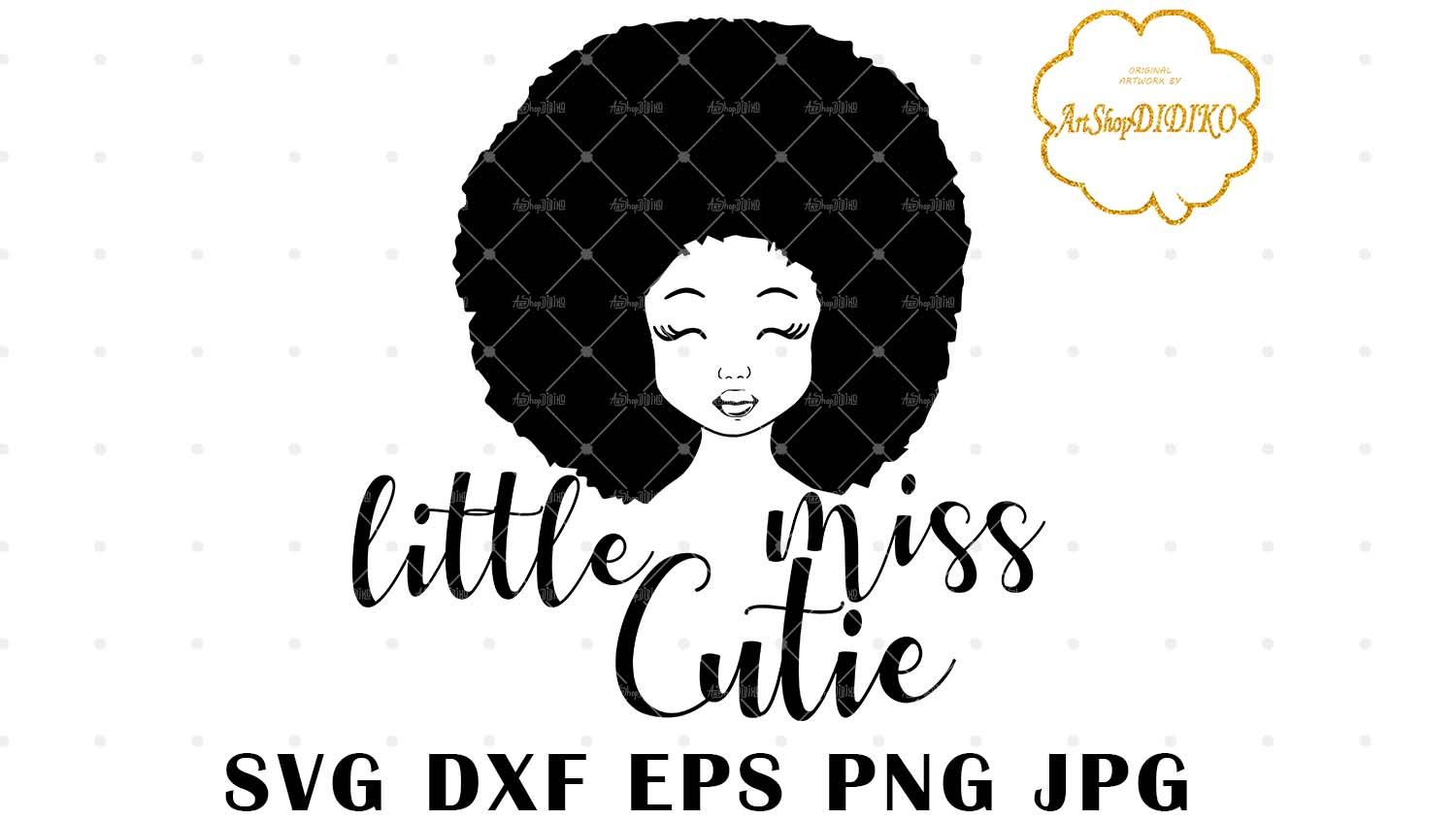 Download Little Miss Cutie SVG, Cute Afro Girl Silhouette SVG, Afro ...