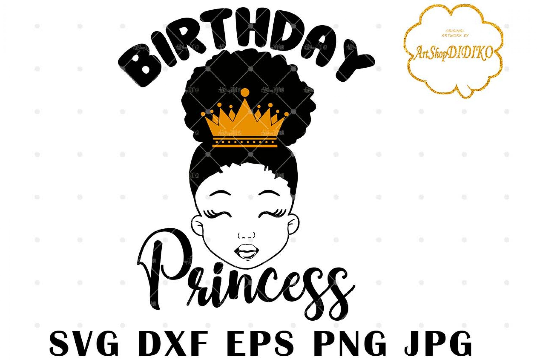 Birthday Princess SVG, Cute Afro Girl Silhouette SVG, Afro Puff Girl SVG, Afro Kid SVG, African American Girl SVG, DXF, EPS, PNG, JPG, Silhouette Files, Cricut Cut Files