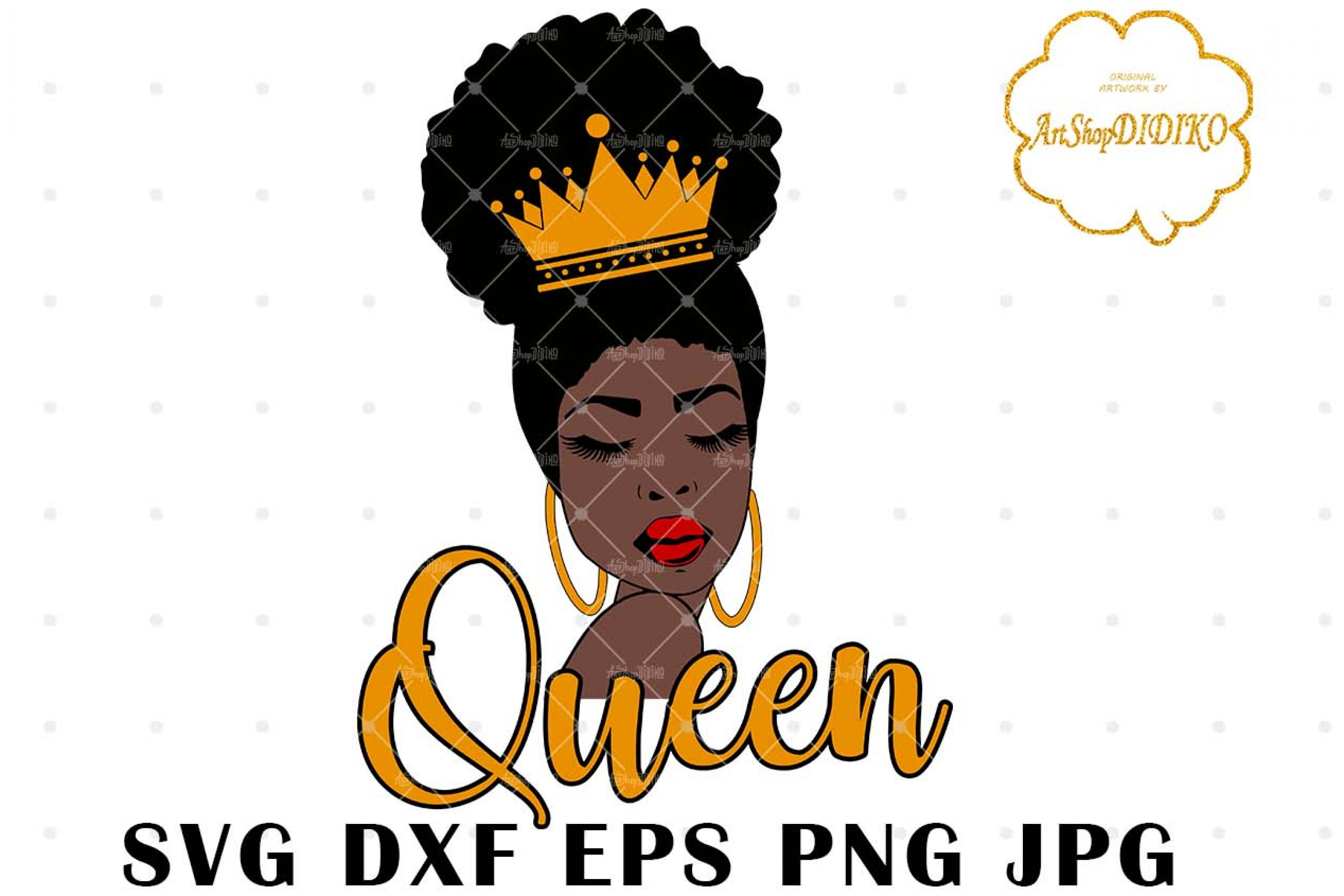 Afro Queen SVG #1, Black Woman witch Crown Svg
