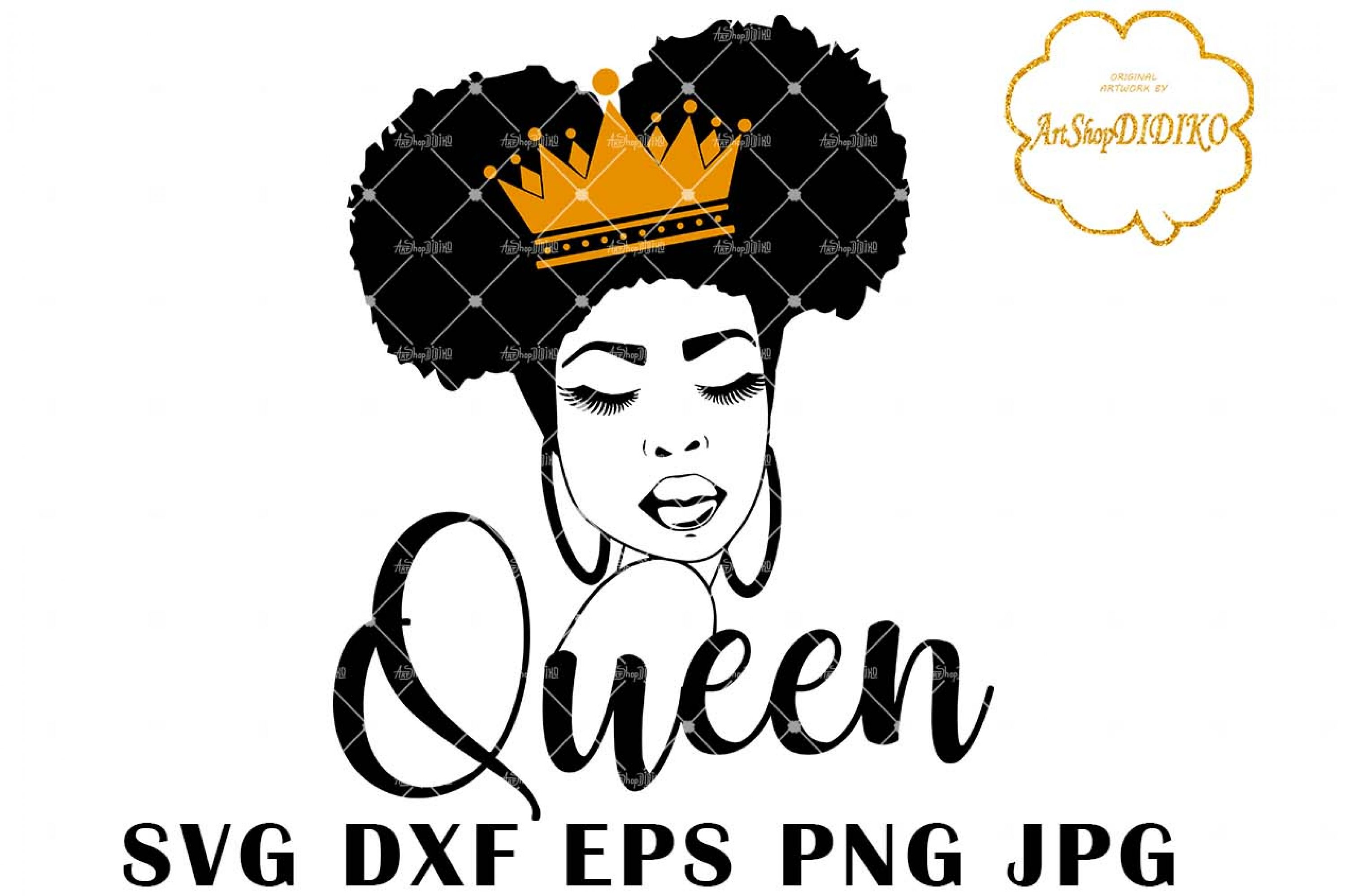 Afro Queen SVG, Afro Woman Silhouette SVG, African American Woman SVG, One Puff Hair, DXF, EPS, PNG, JPG, Silhouette Files, Cricut Cut Files