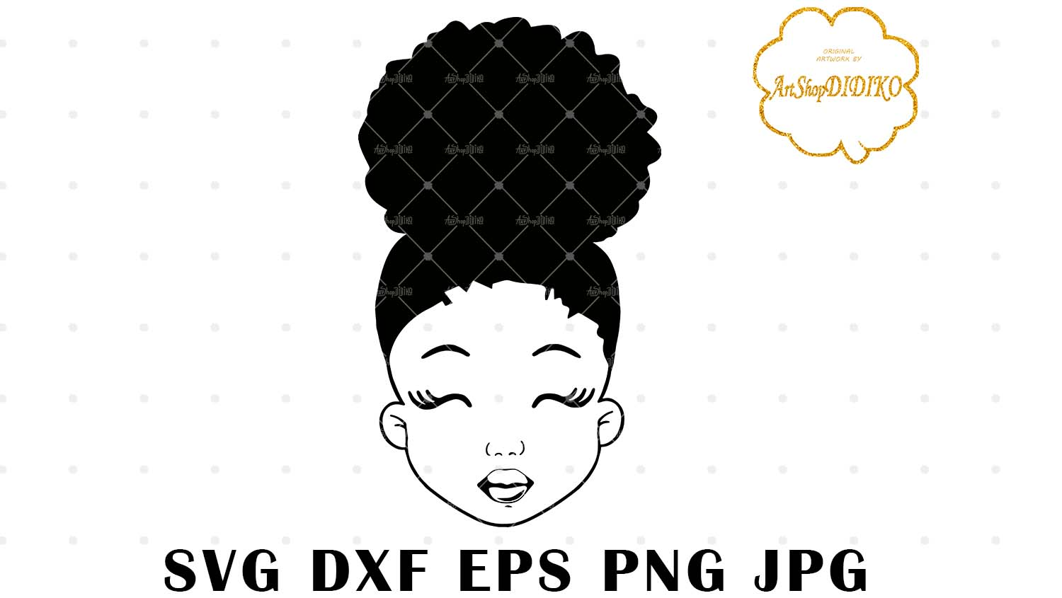 Download Cute Afro Girl Silhouette SVG, Afro Puff Girl SVG, Afro ...