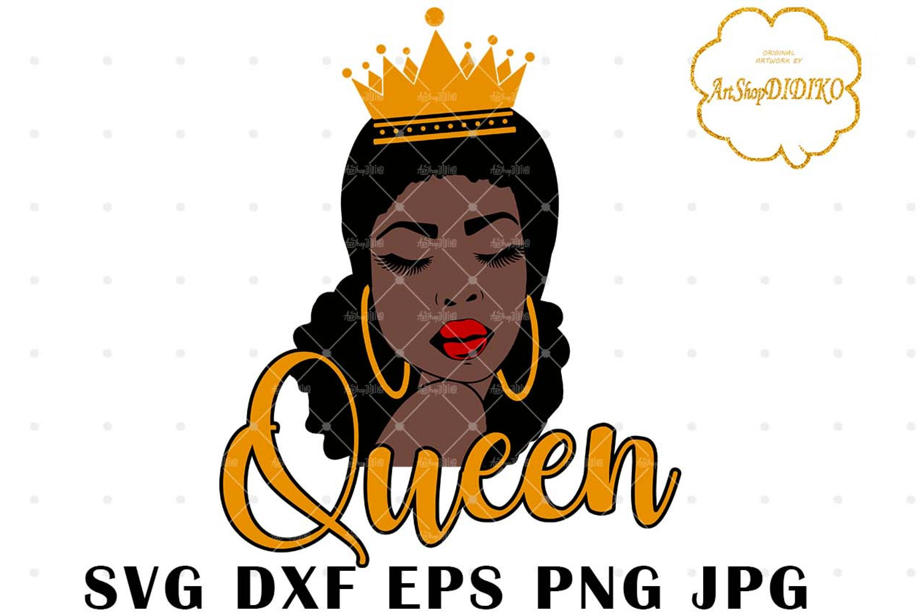 Afro Queen SVG #2, Black Lady witch Crown Svg