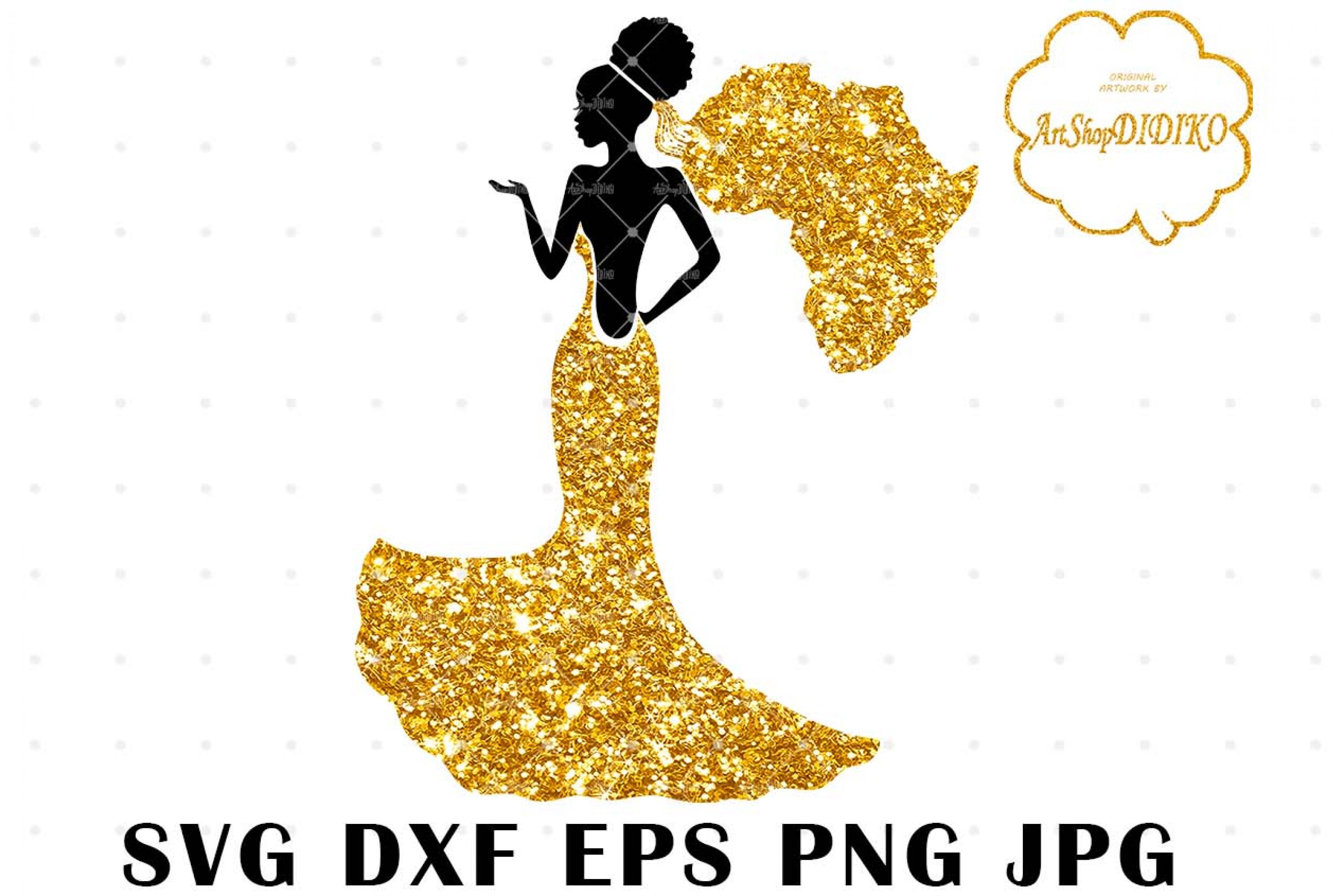 Afro Woman Bride SVG, African American Wedding SVG, Africa SVG, DXF, EPS, PNG, JPG, Silhouette Files, Cricut Cut Files