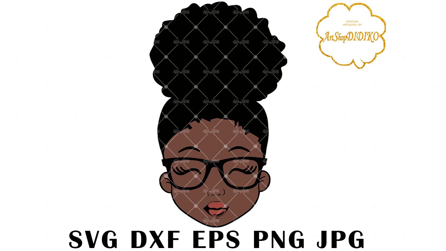 Download Cute Afro Girl With Glasses SVG, Afro Puff Girl SVG, Afro ...