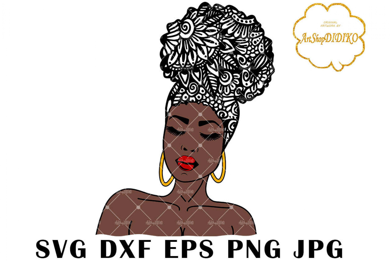 Afro Woman Zentangle One Puff SVG, Mandala SVG