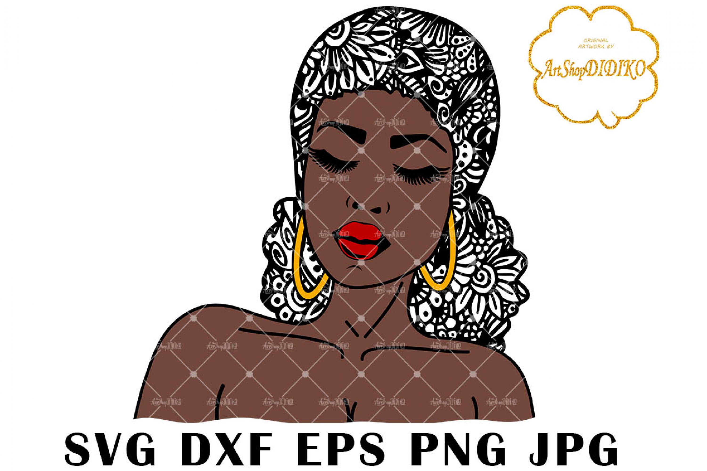 Afro Woman Zentangle Low Puff SVG, Mandala SVG