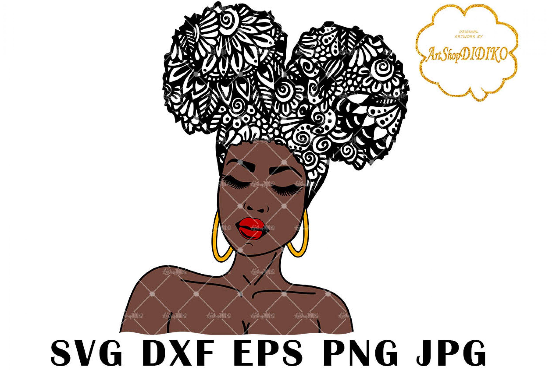 Afro Woman SVG #3, Zentangle SVG, Mandala SVG, Black Woman SVG,Cricut File