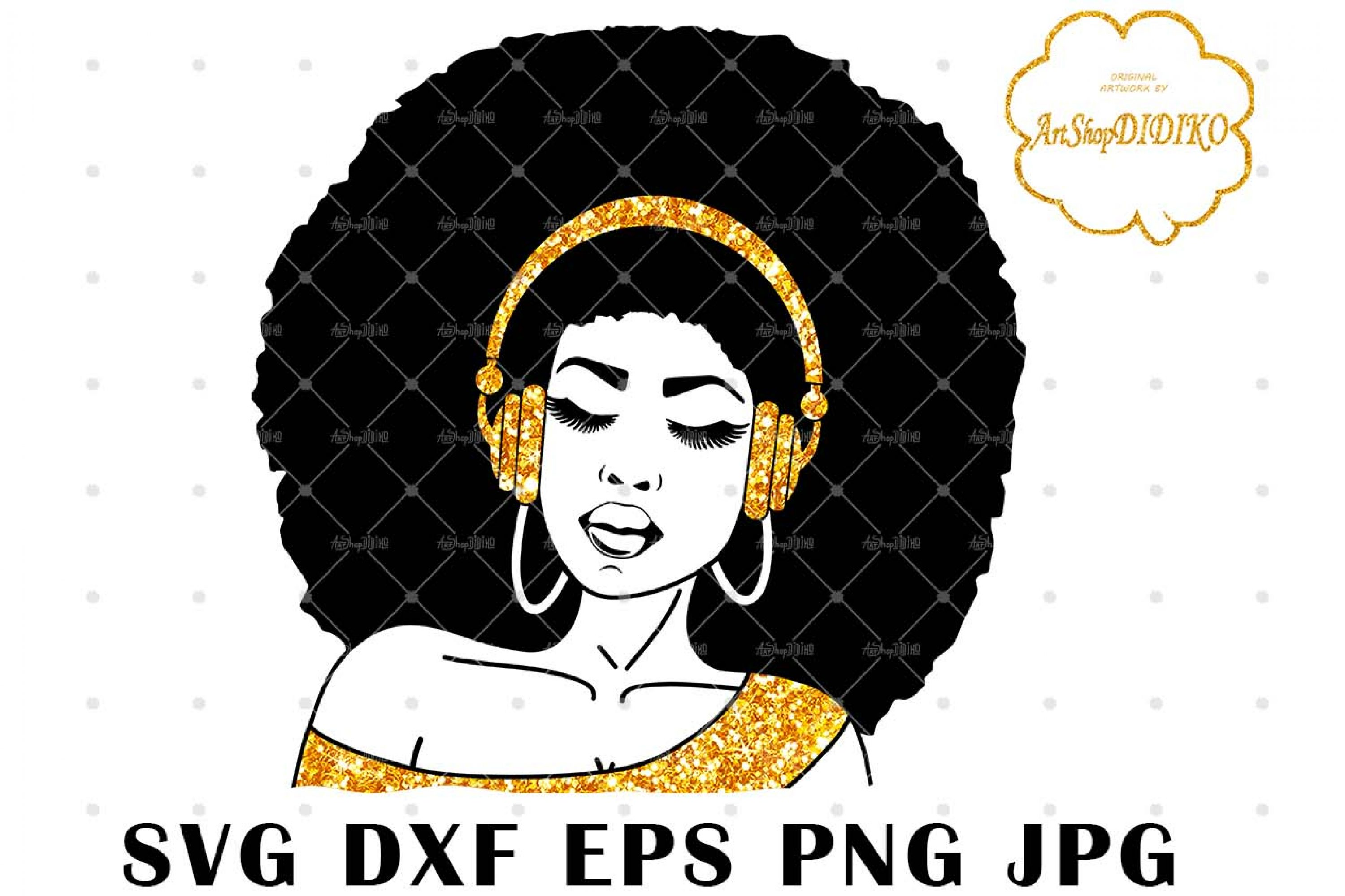 Afro Woman With Headphones SVG, Afro Music SVG
