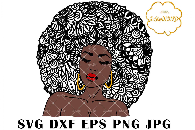 Zentangle Woman SVG #1, Black Woman SVG, Cricut File
