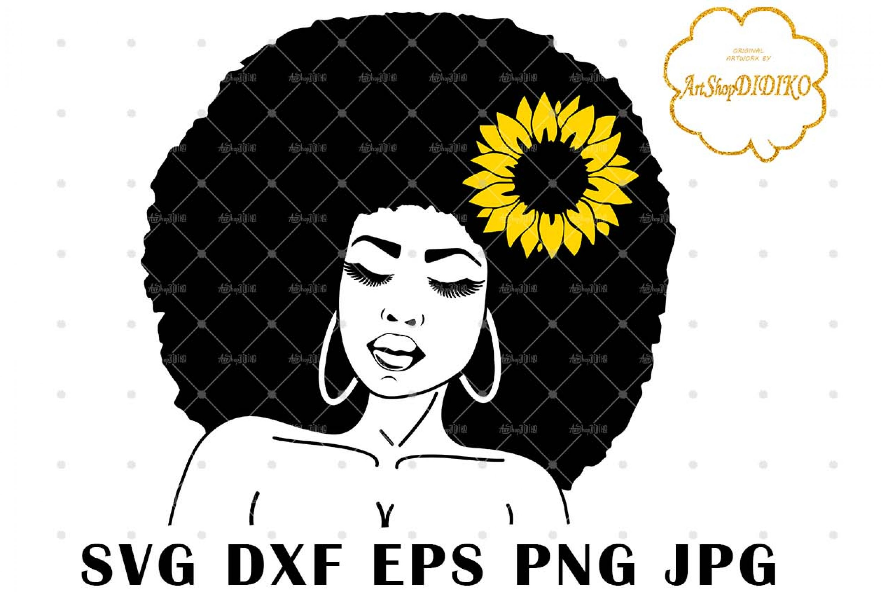 Afro Woman With A Sunflower SVG, Natural Hair SVG