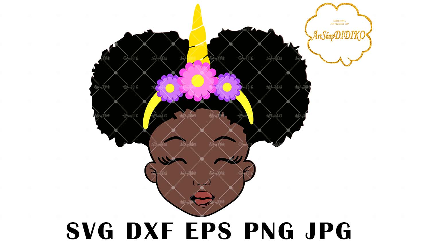Download Cute Afro Girl Unicorn SVG, Afro Puff Girl SVG, Afro Kid ...