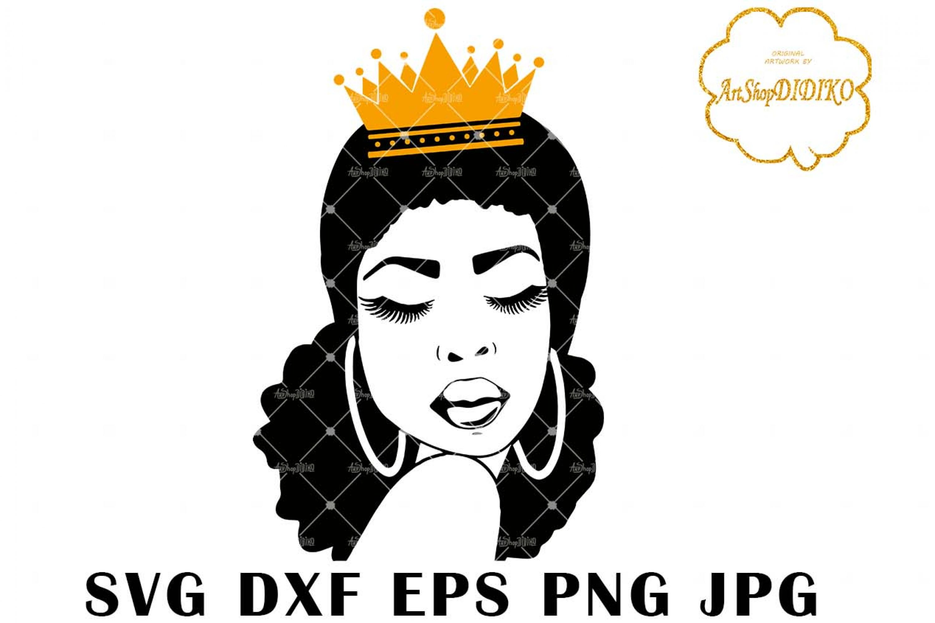 Afro Queen SVG, Afro Woman Silhouette SVG, African American Woman SVG, Low Puff Hair, DXF, EPS, PNG, JPG, Silhouette Files, Cricut Cut Files