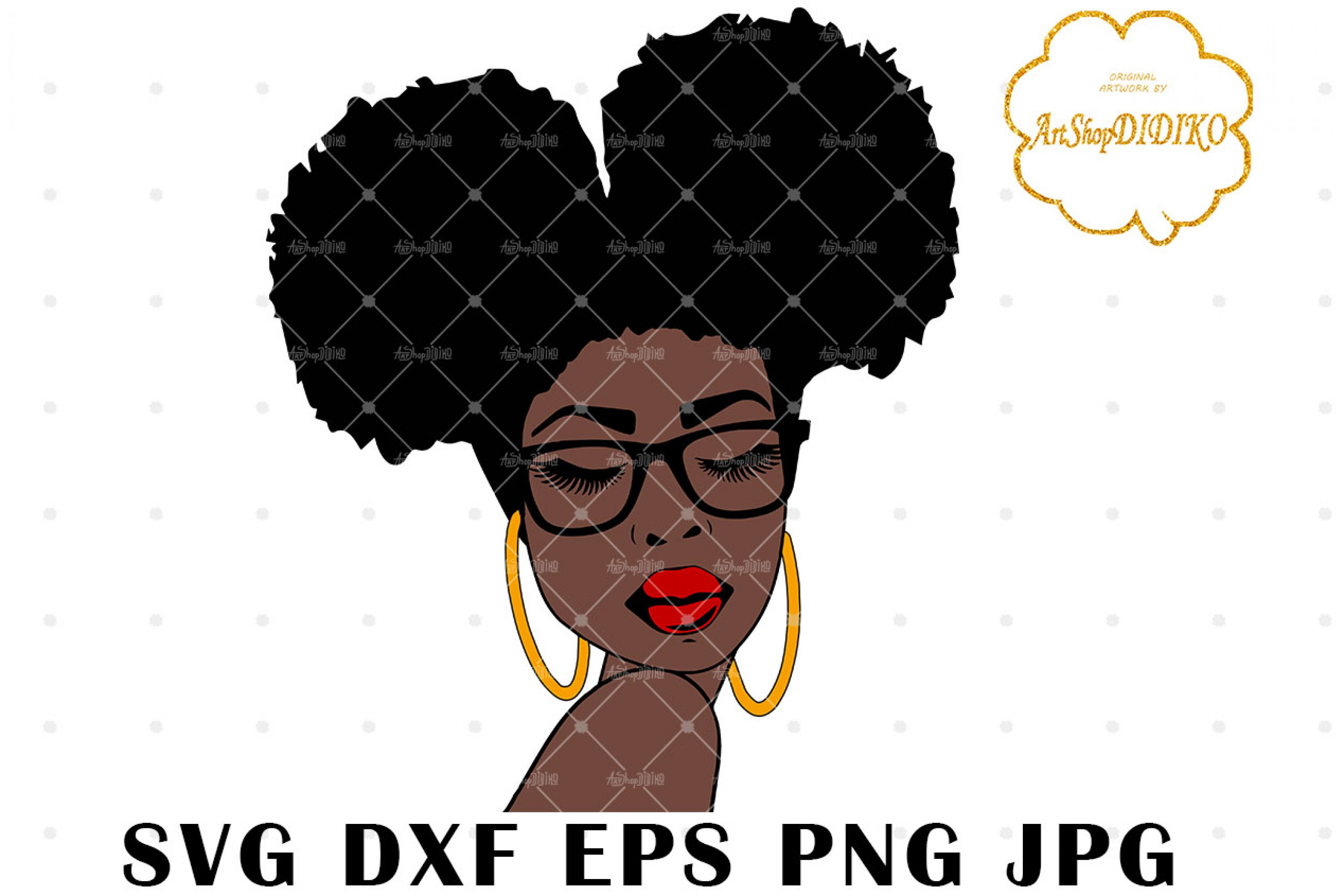 Afro Woman Two Puffs Glasses SVG, Afro Boss SVG
