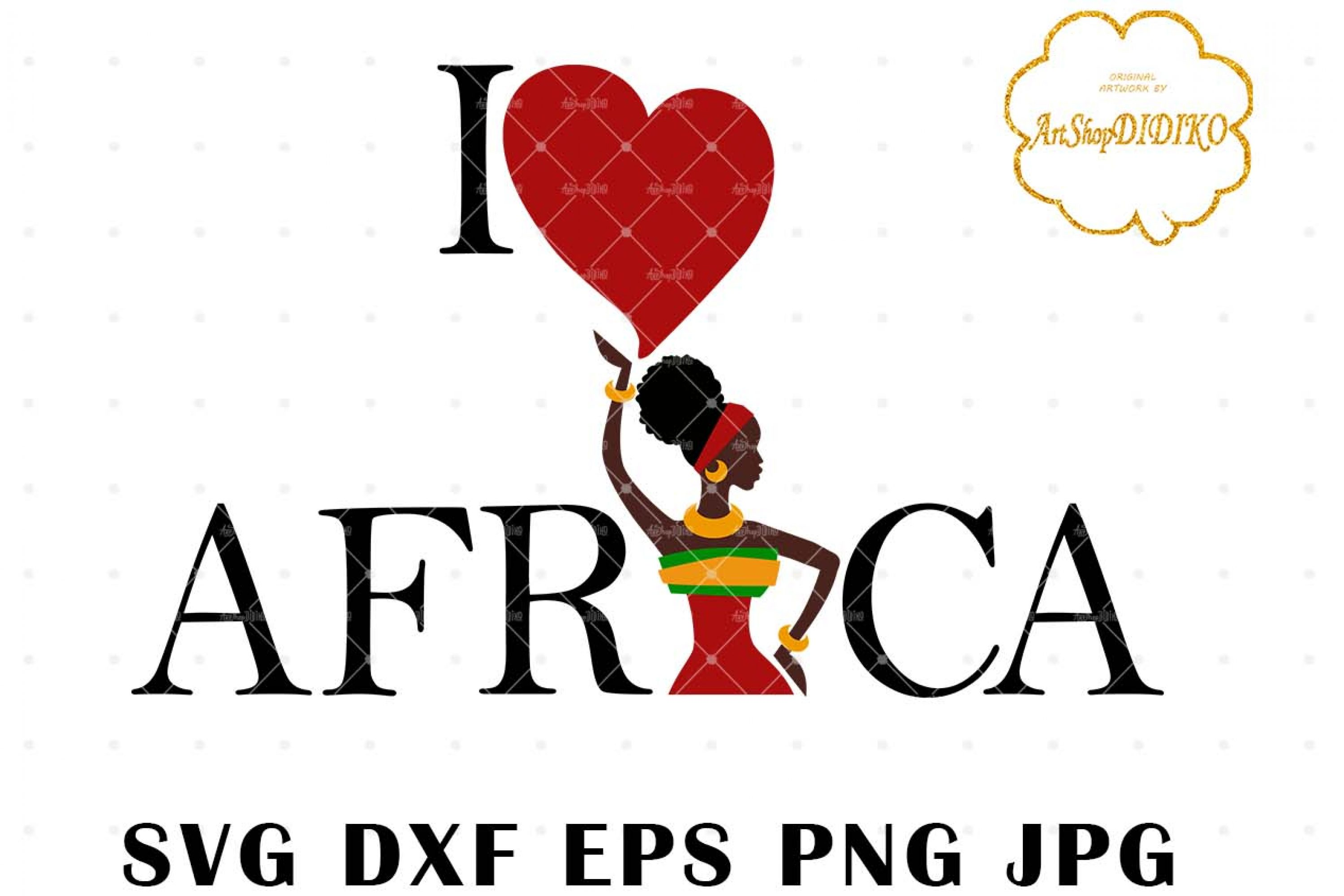 I Love Africa SVG, African Woman SVG, Afro SVG