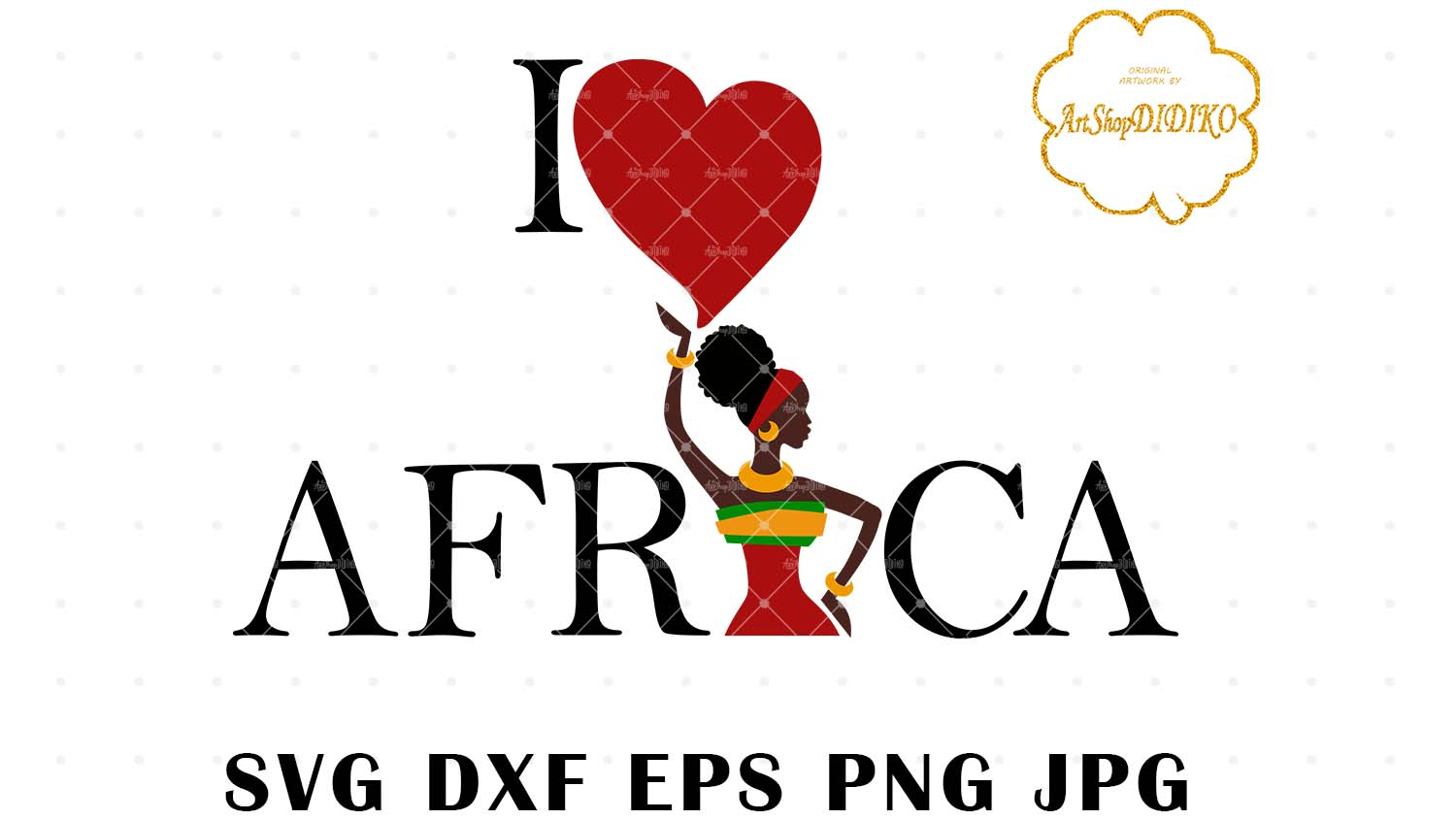 I Love Africa African Woman SVG