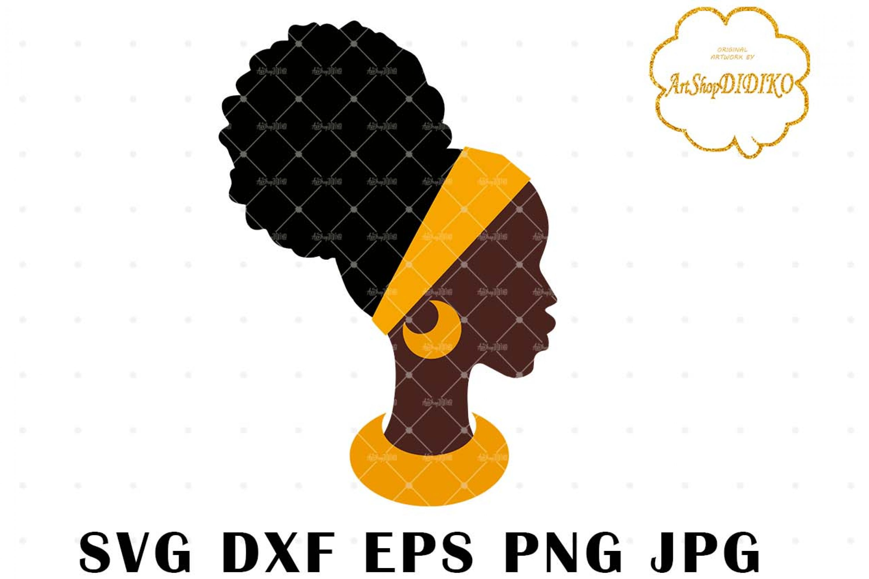 African Woman Face One Puff SVG, Afro SVG, Africa