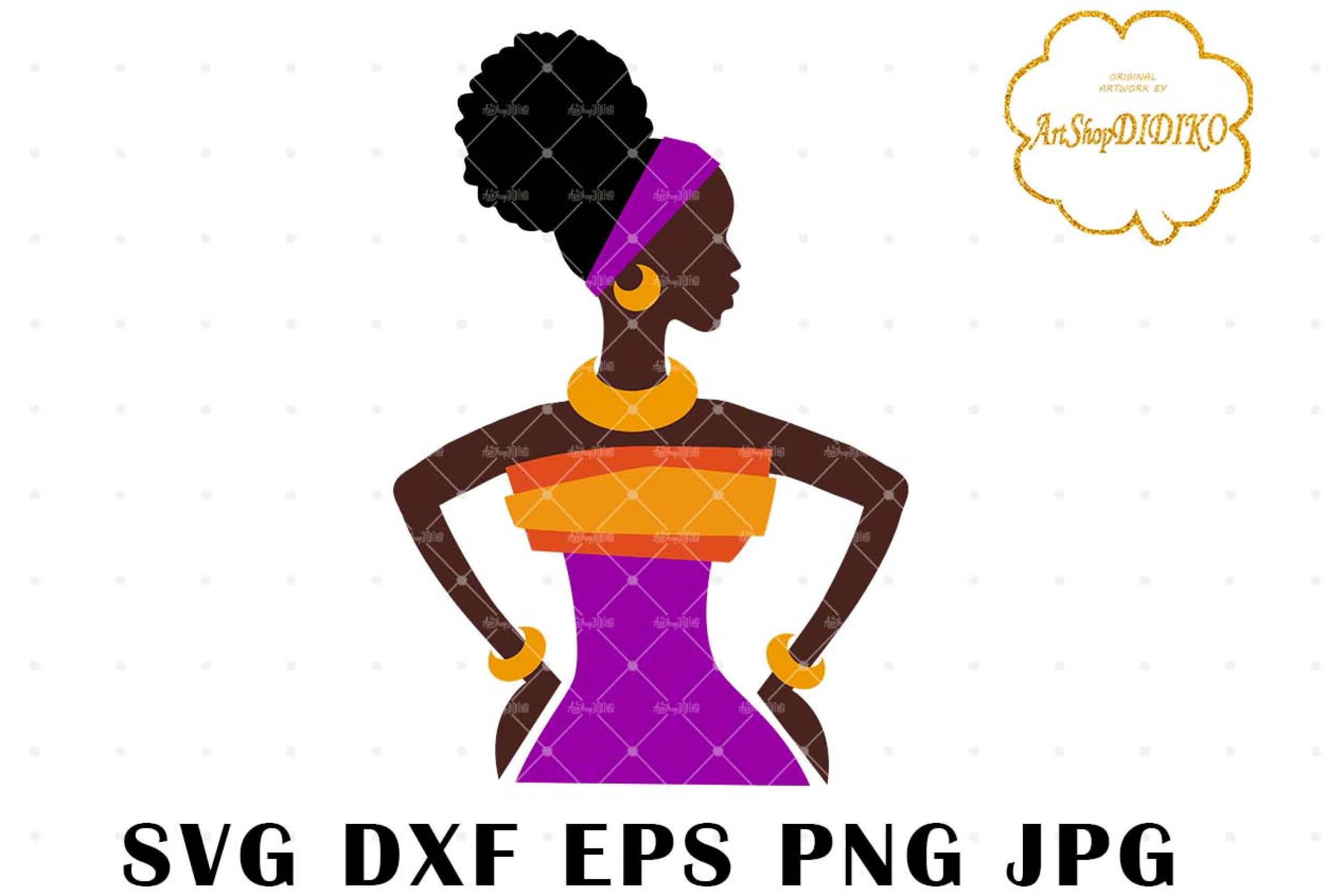 African Woman One Puff 2 SVG, Afro SVG, Africa SVG