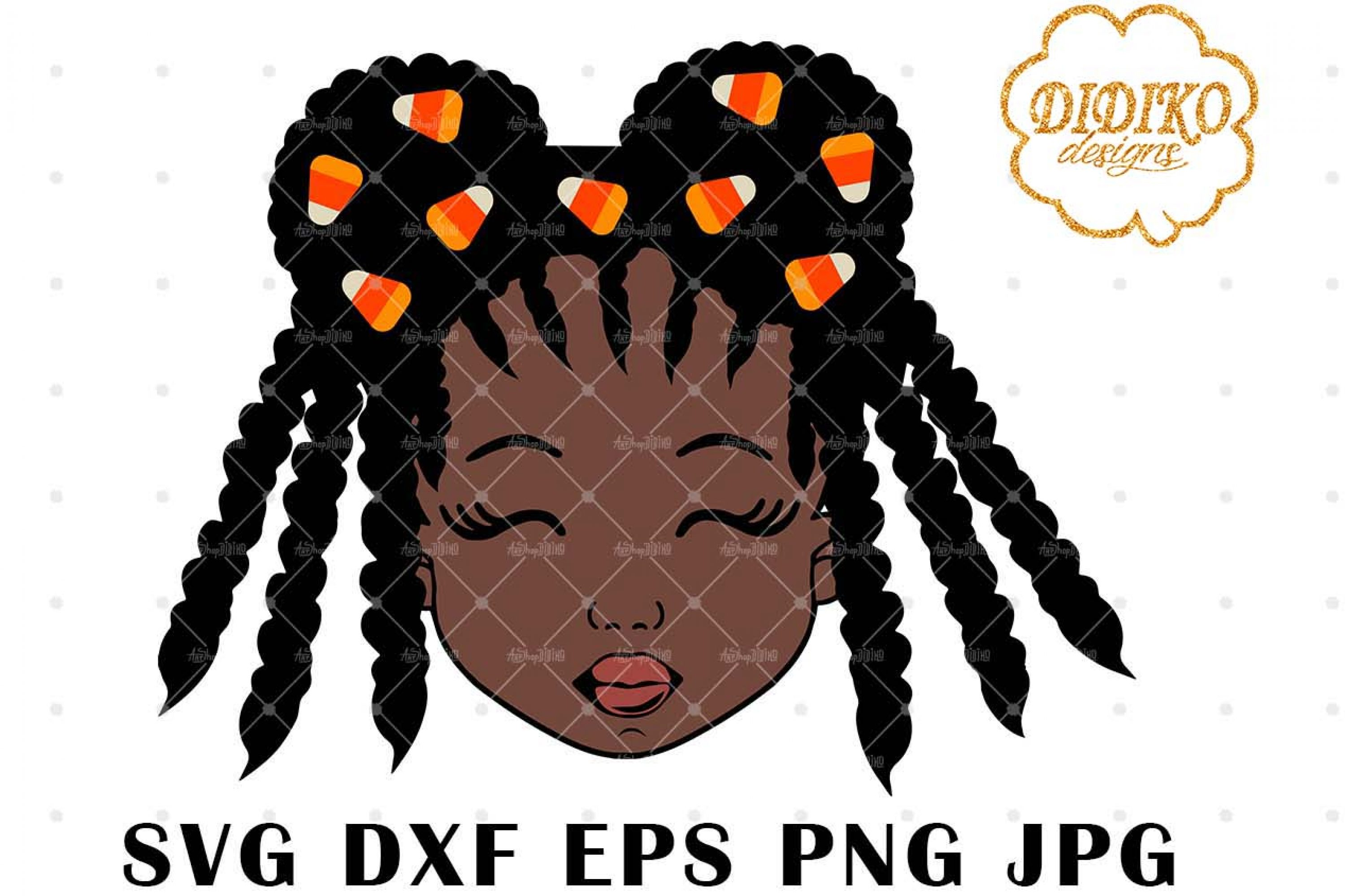 Candy Corn Afro Girl 4 SVG, Halloween SVG, Puff SVG