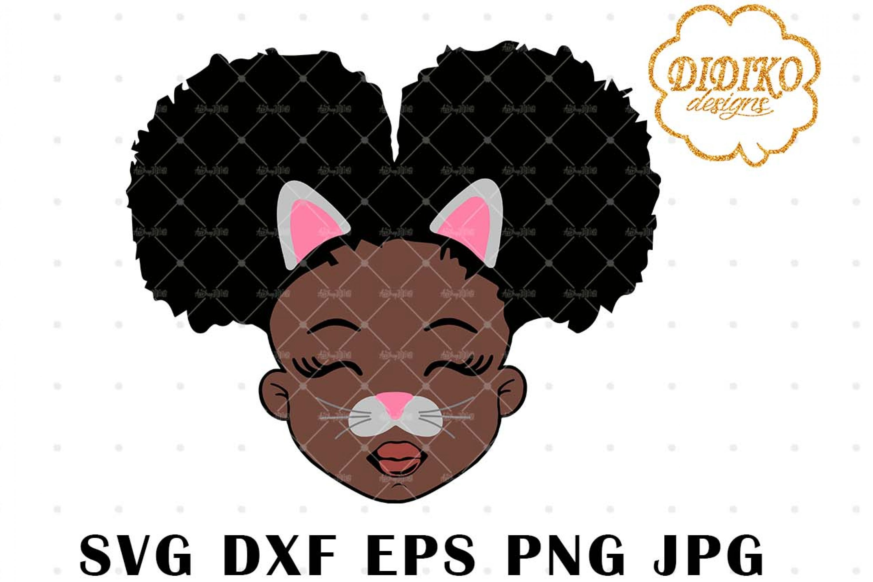 Cat Girl SVG, Halloween Black girl Svg, Afro Puffs Svg