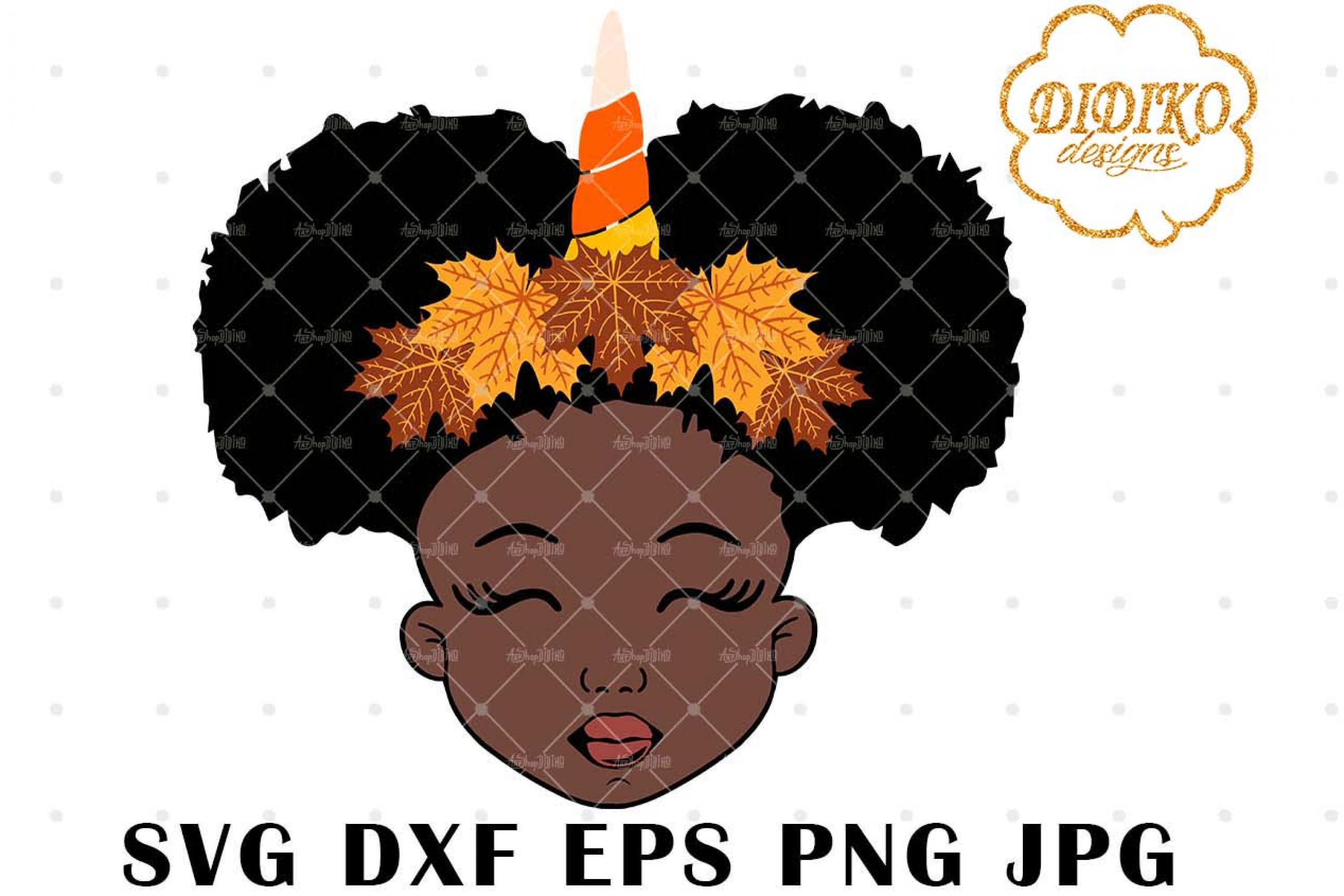 Fall Unicorn Afro Girl 1 SVG, Halloween SVG, Puff SVG