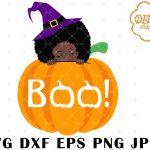 Halloween Afro Peek a Boo SVG 2, Pumpkin SVG
