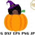 Halloween Afro Peek a Boo SVG 1, Pumpkin SVG