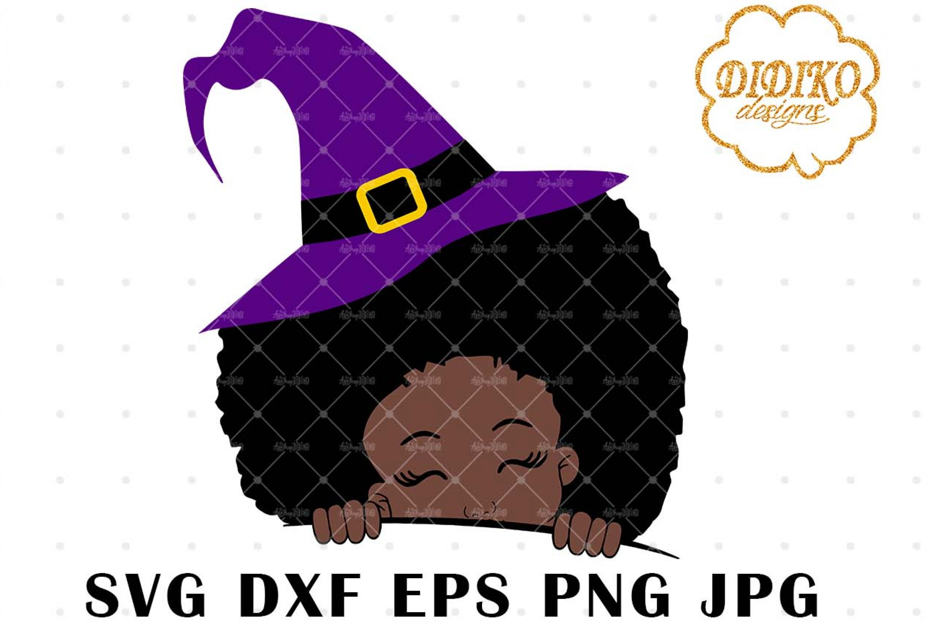 Halloween Afro Peek a Boo SVG, Afro Witch SVG