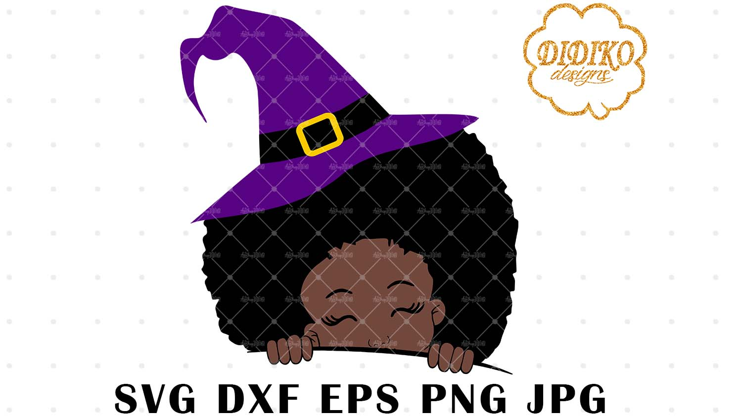 DIDIKO designs Halloween Afro Peek a Boo SVG