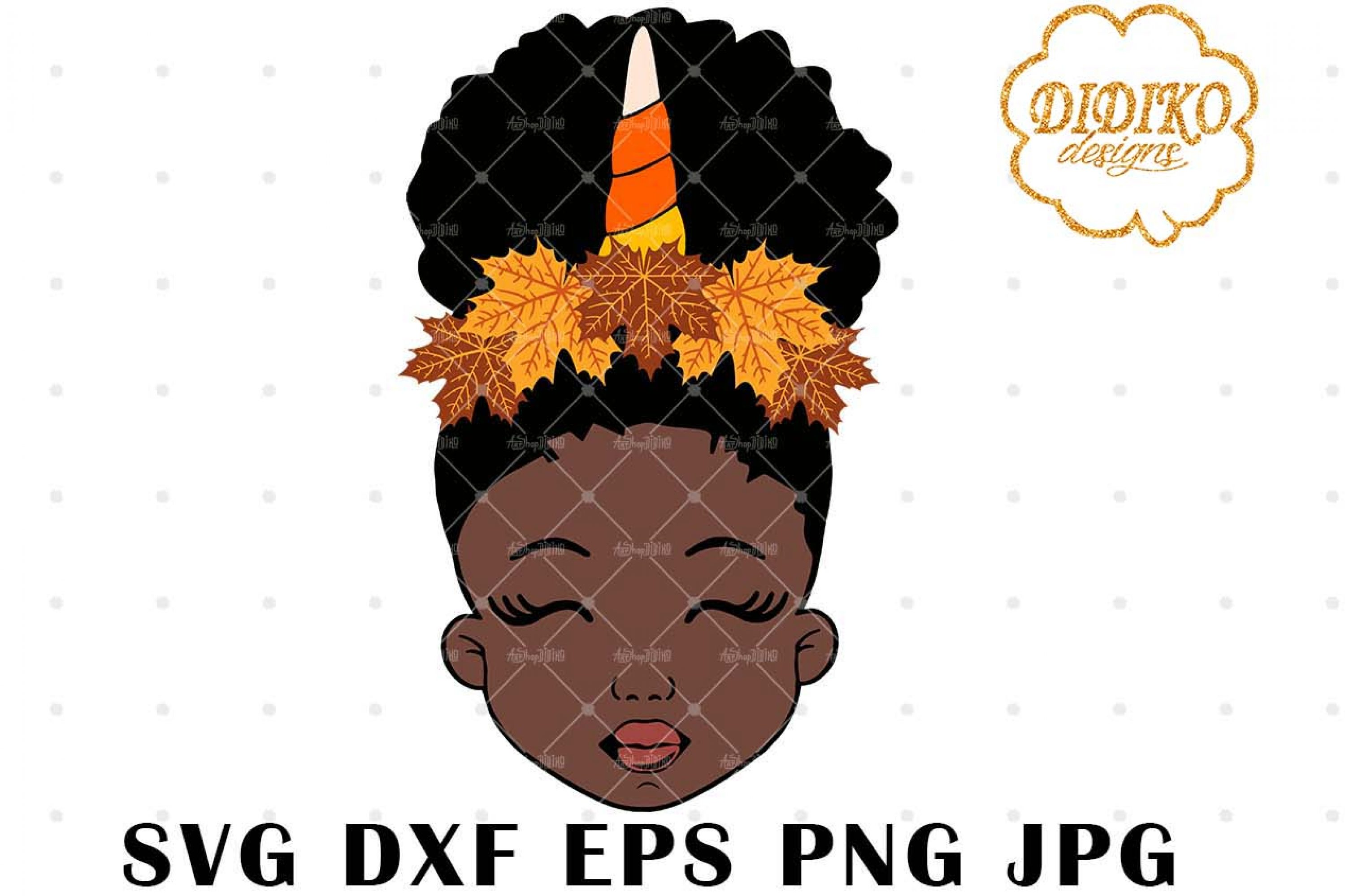 Fall Unicorn Afro Girl 2 SVG, Halloween SVG, Puff SVG
