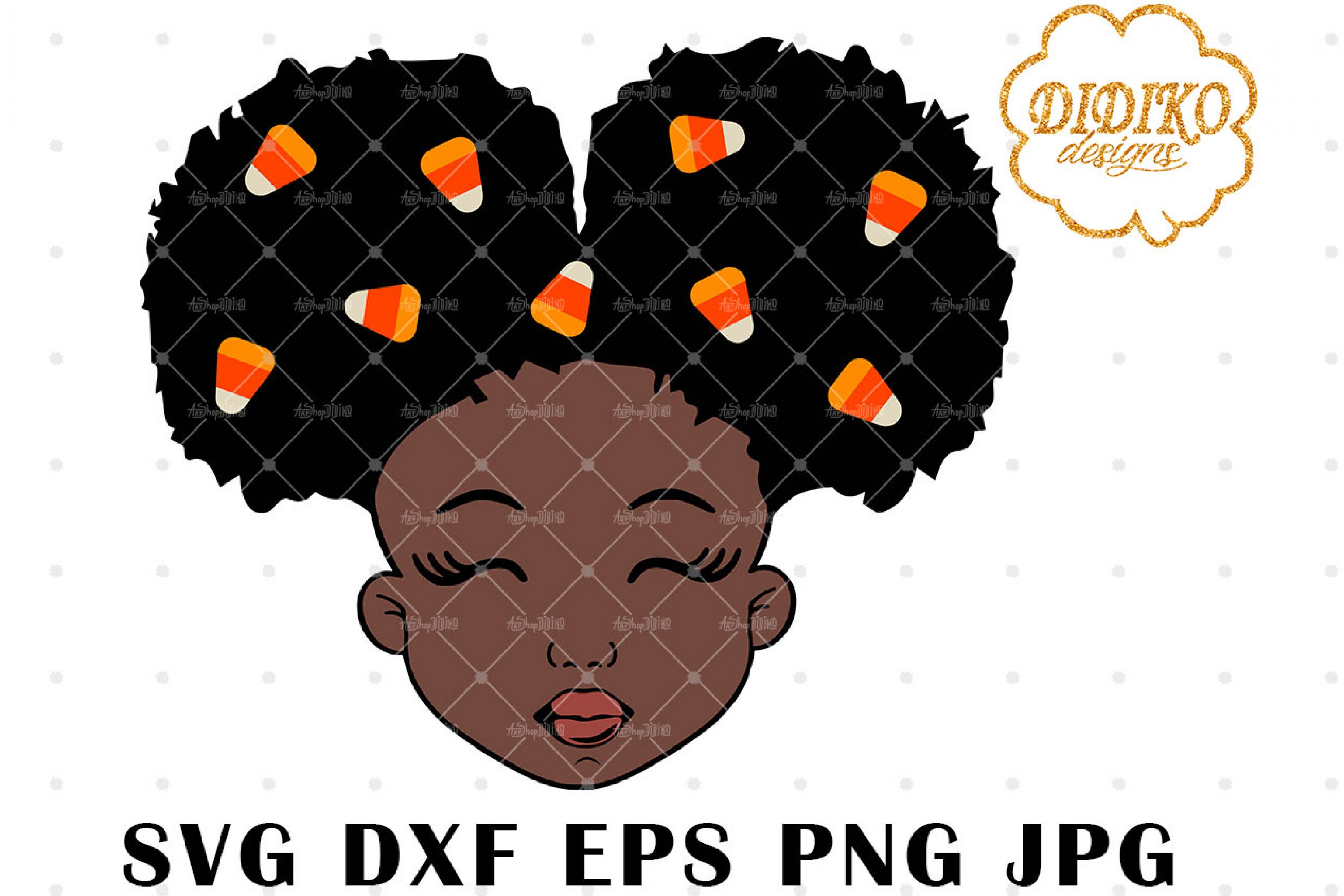Candy Corn Afro Girl 1 SVG, Halloween SVG, Puff SVG