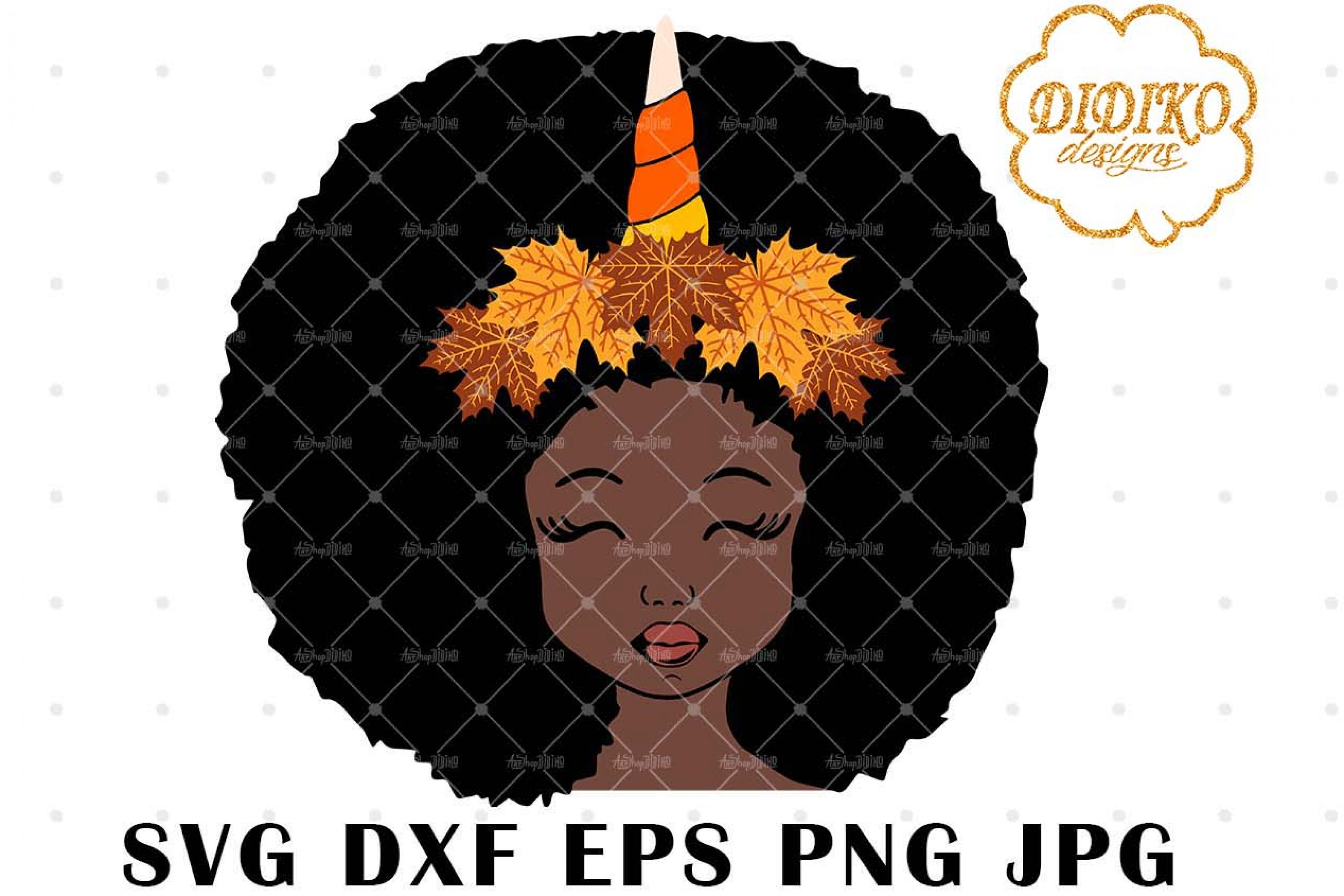 Fall Unicorn Afro Girl 3 SVG, Halloween SVG, Puff SVG