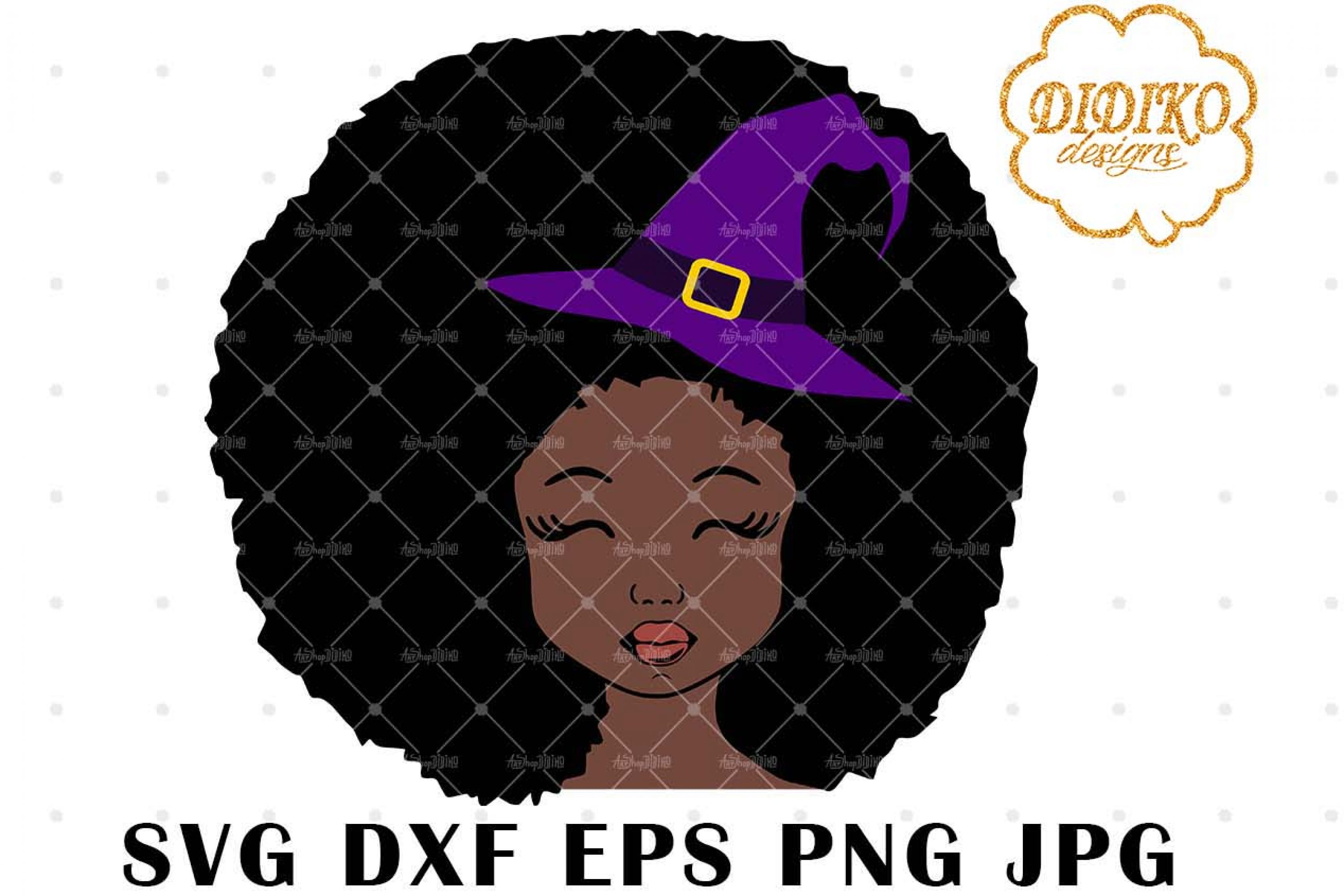 Halloween Afro Girl 1 SVG, Witch Hat SVG, Afro Puff svg