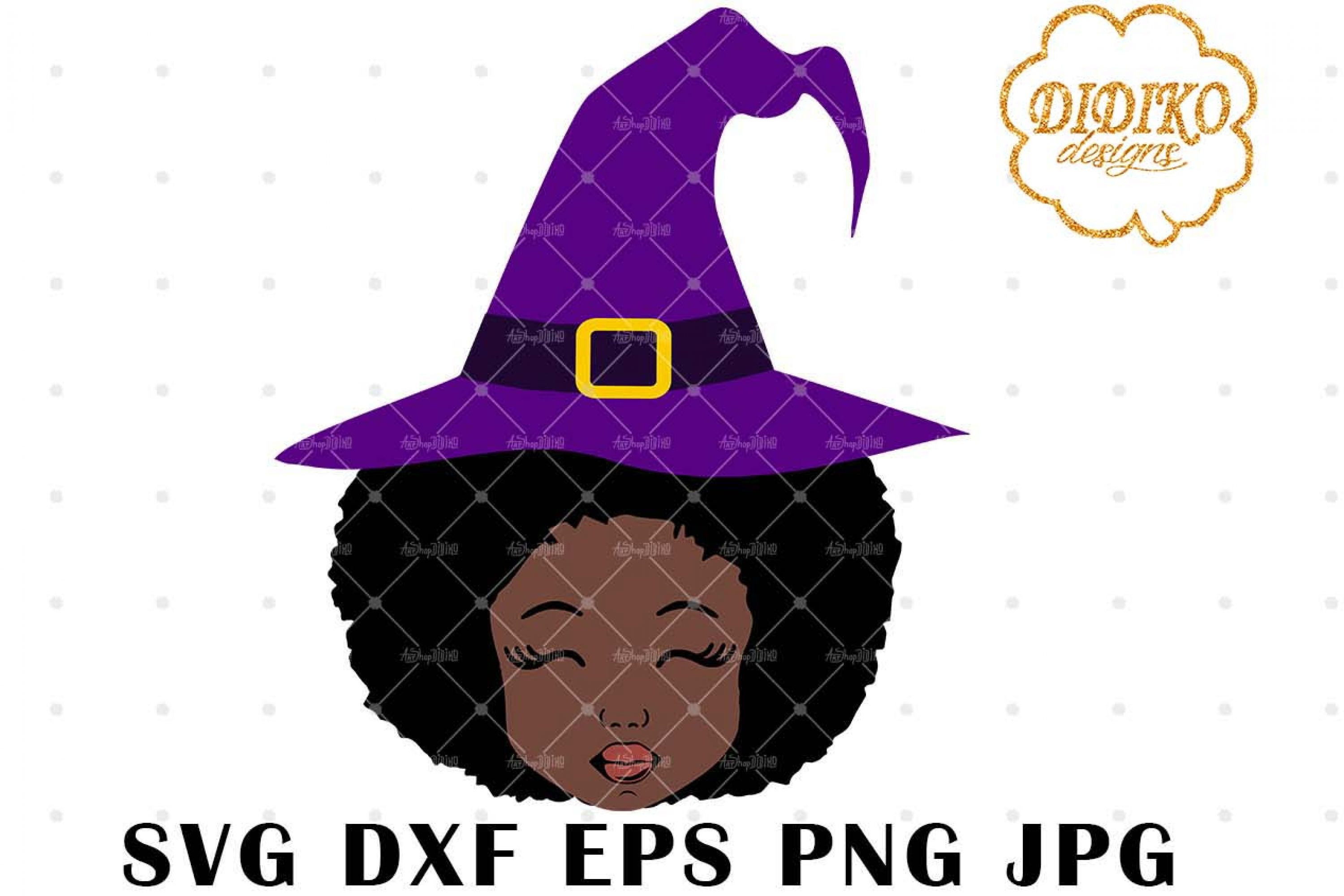 Halloween Afro Girl 2 SVG, Witch Hat SVG, Afro Puff svg