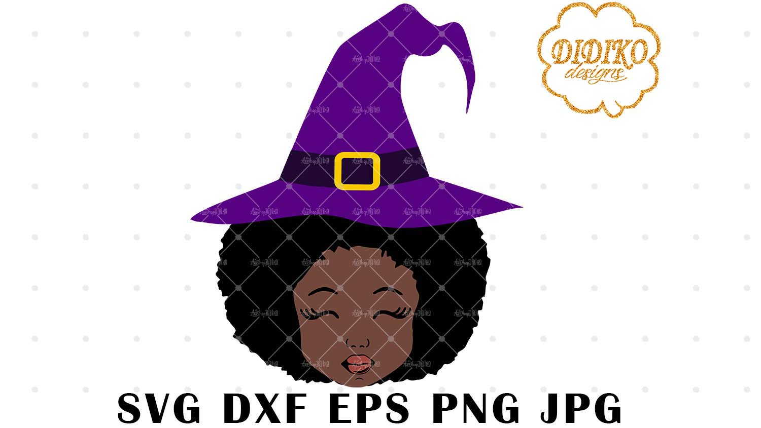 DIDIKO designs Afro Girl Halloween Witch SVG