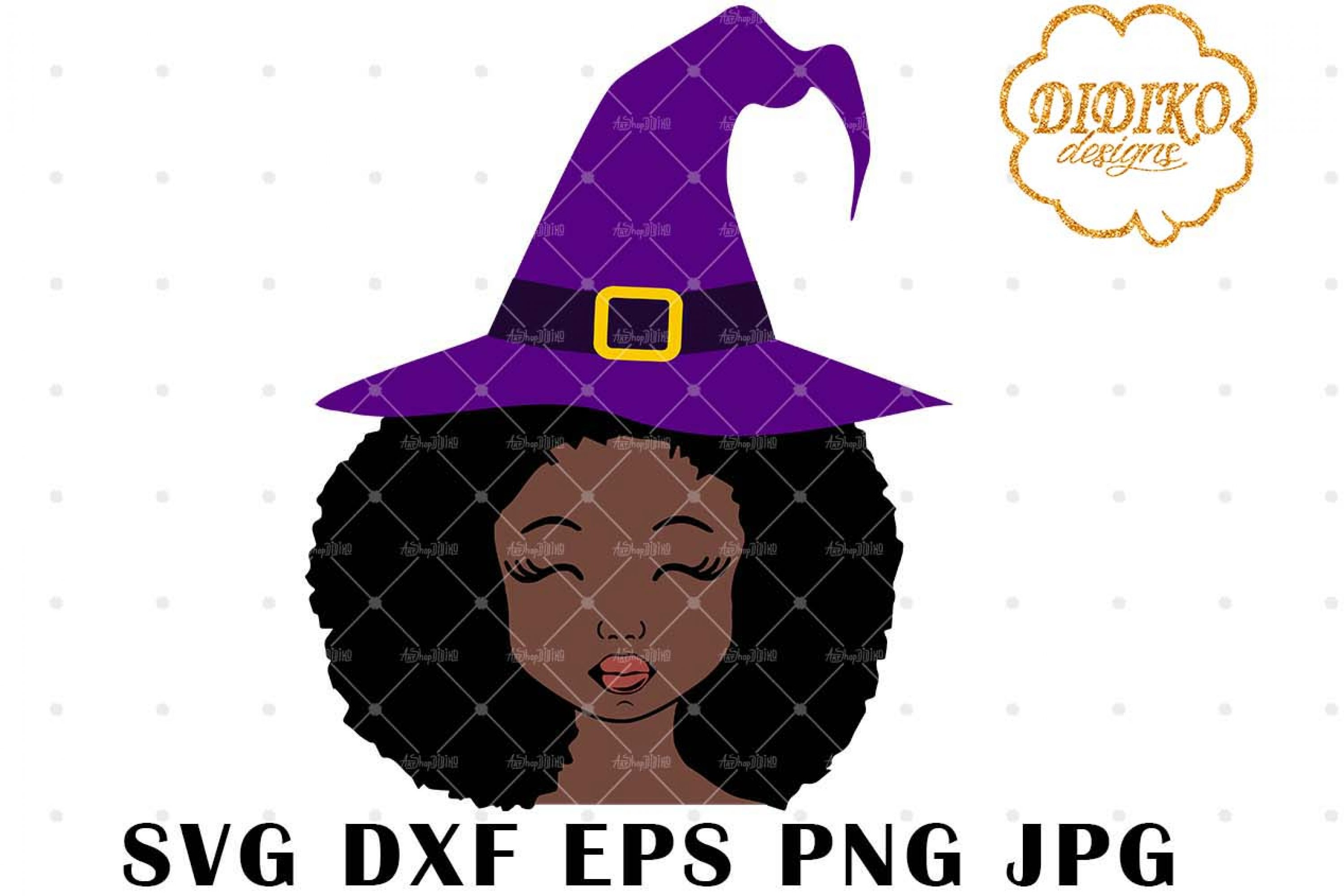 Halloween Afro Girl 3 SVG, Witch Hat SVG, Afro Puff svg