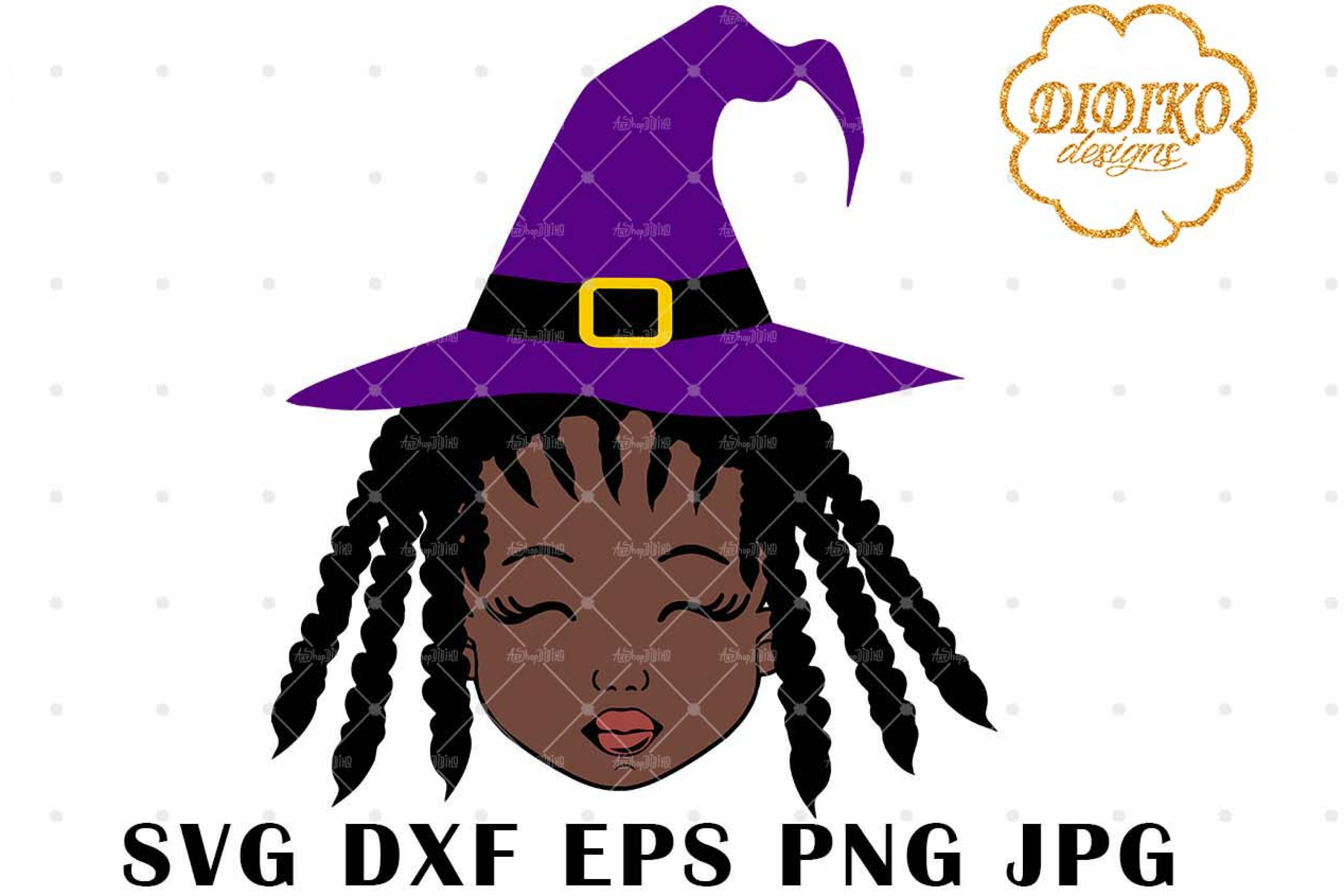 Halloween Afro Girl 4 SVG, Witch Hat SVG, Afro Puff svg