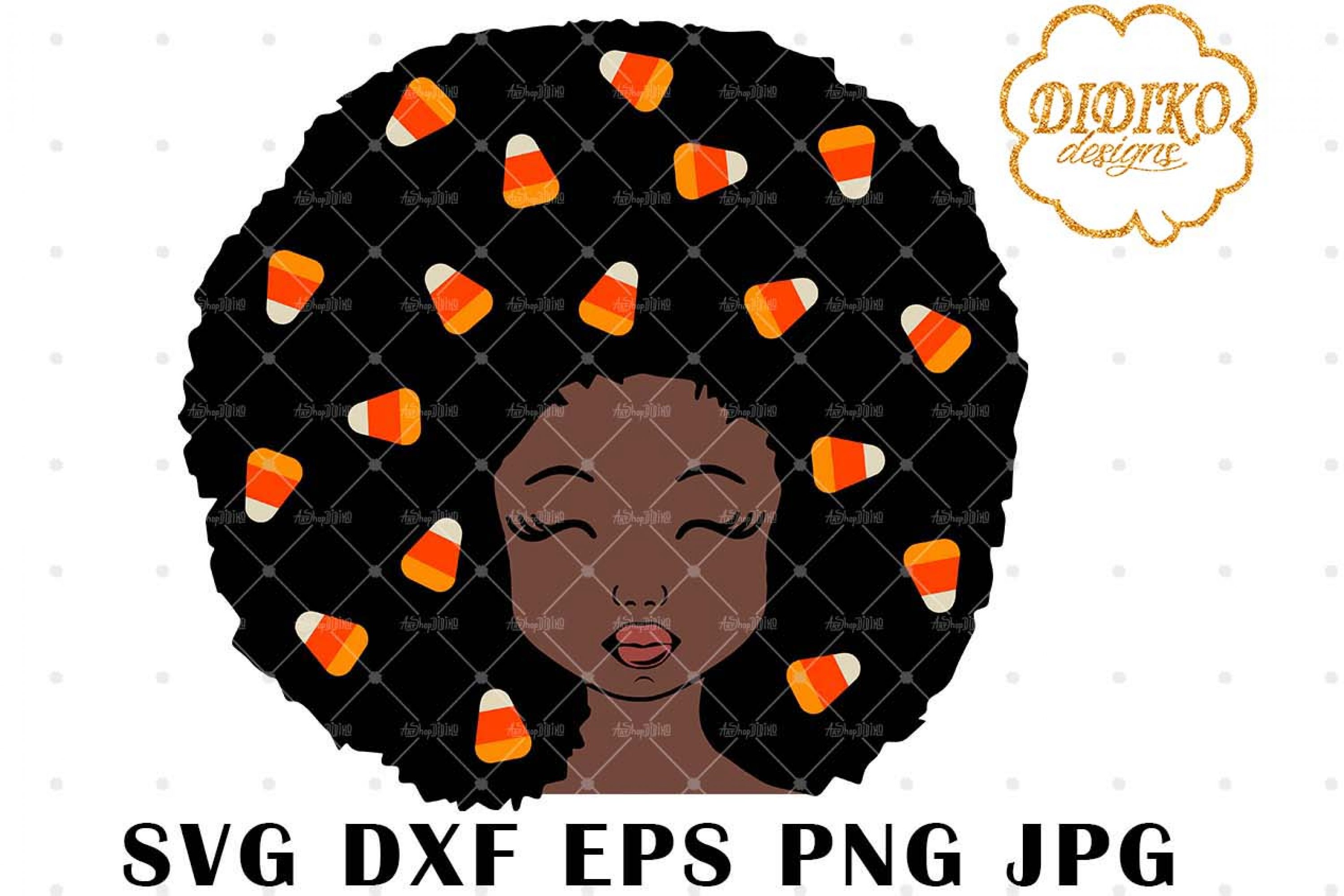 Candy Corn Afro Girl 3 SVG, Halloween SVG, Puff SVG