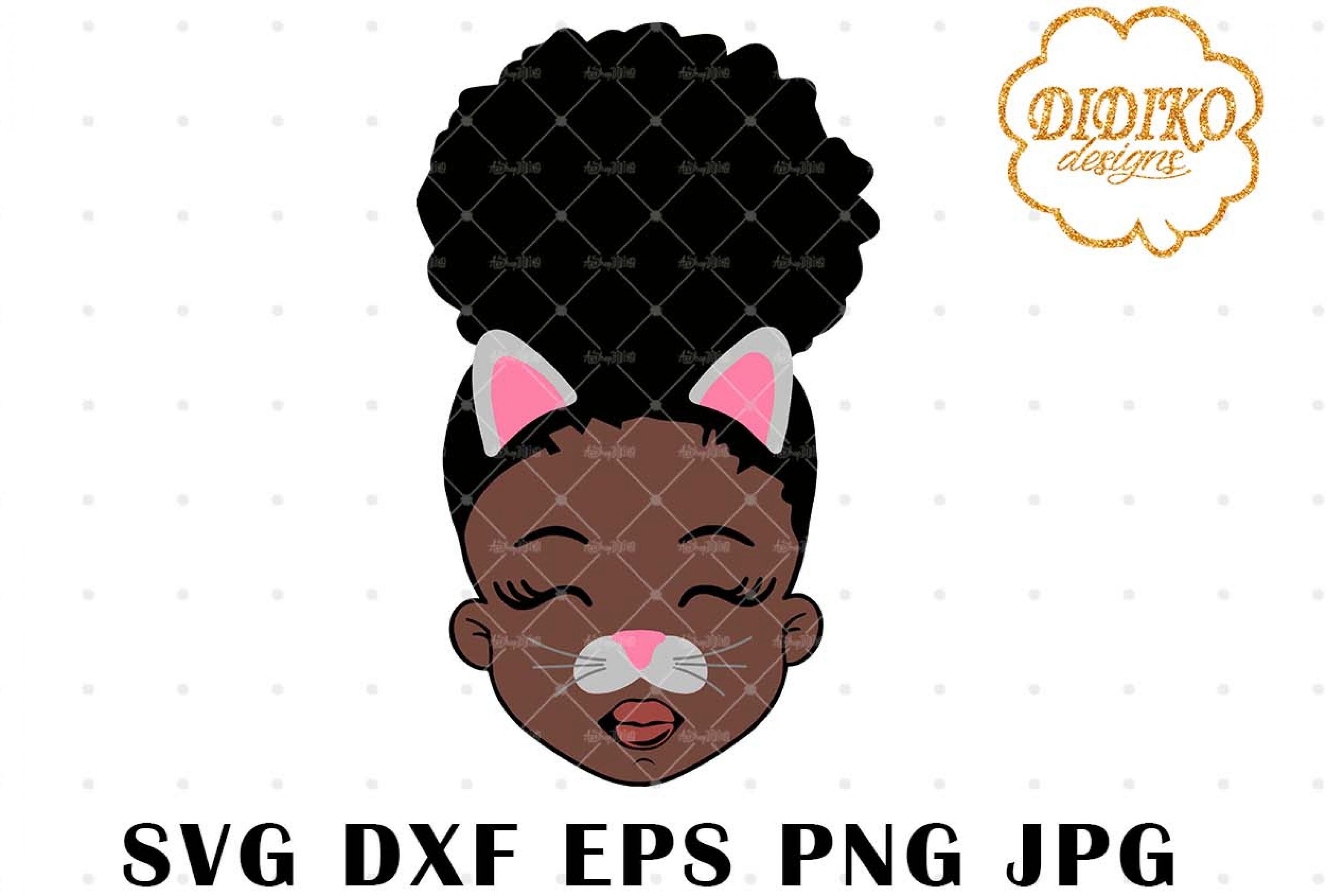Cat Halloween Girl SVG, Black Girl Svg, Afro Puff Svg