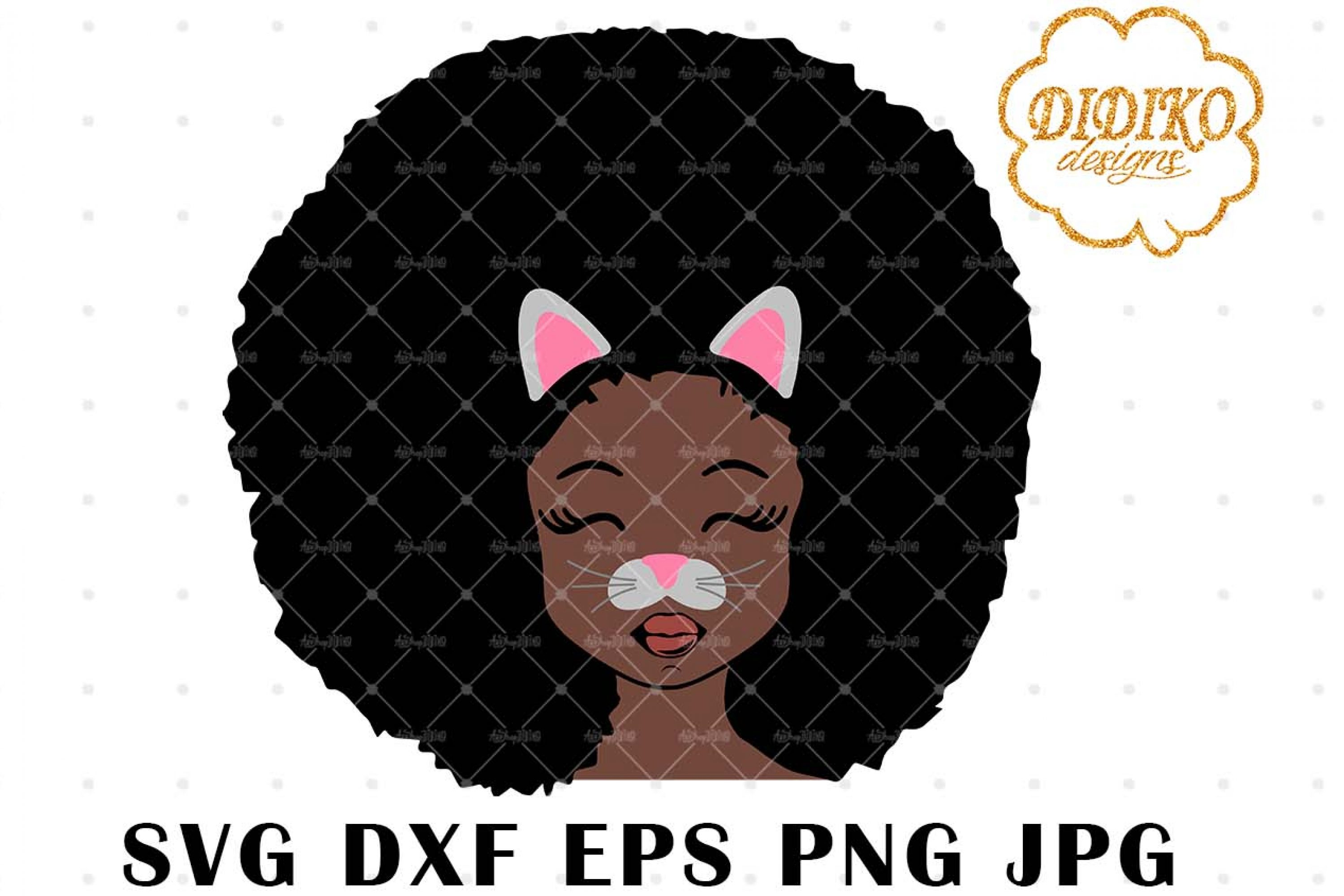 Cat Afro Girl 3 SVG, African American Halloween SVG