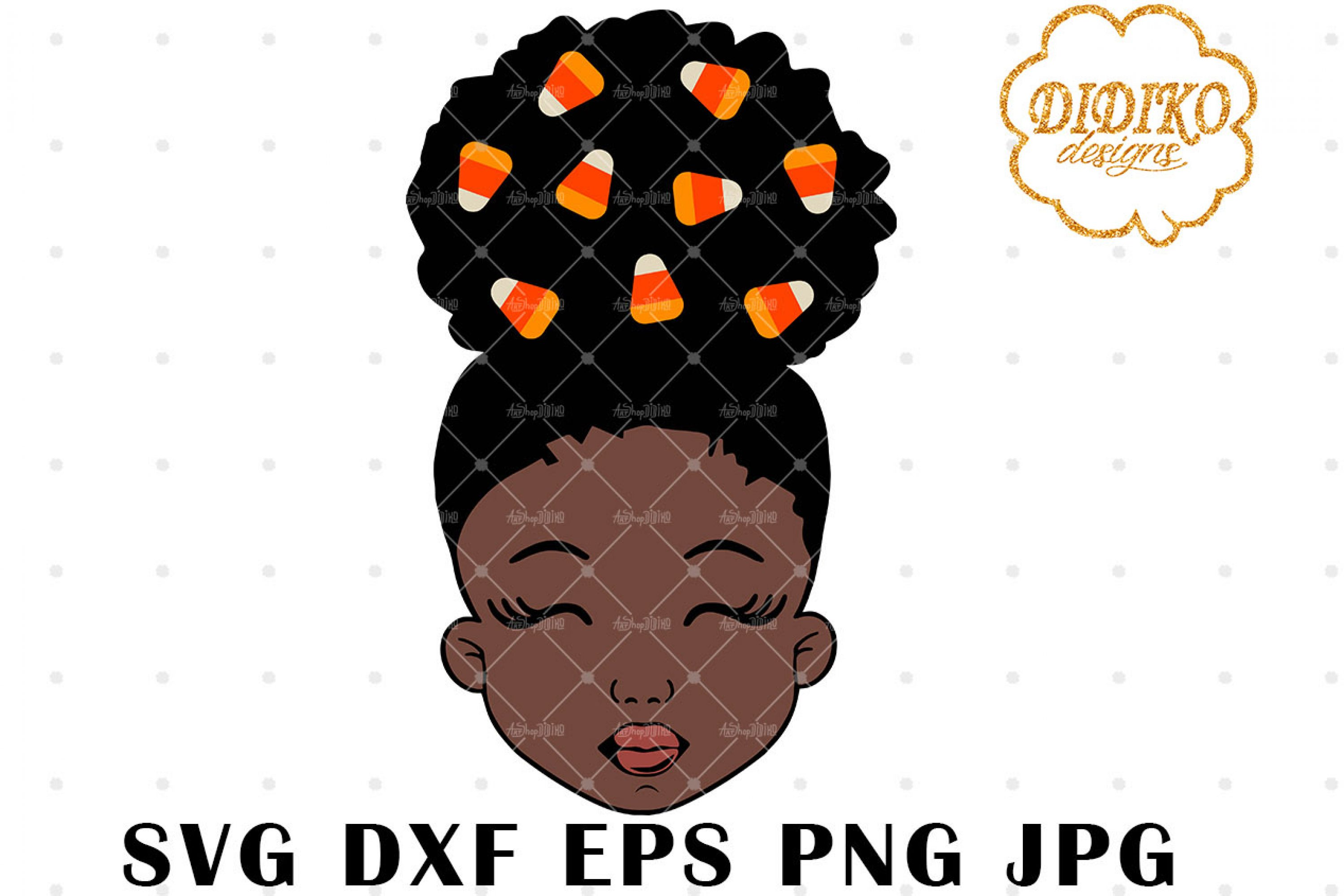 Candy Corn Afro Girl 2 SVG, Halloween SVG, Puff SVG