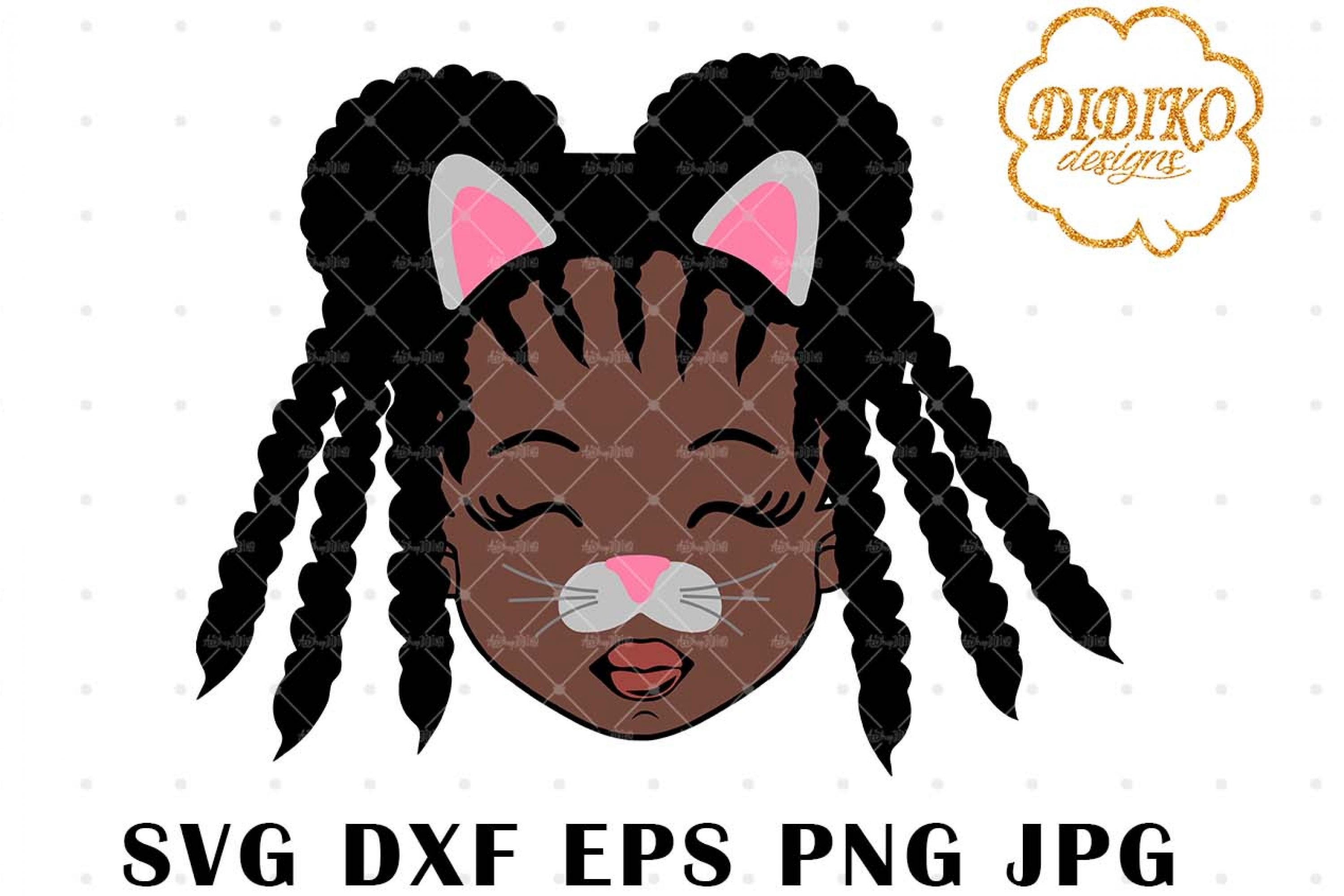 Cat Face Girl SVG, Halloween Black girl Svg, Afro braids