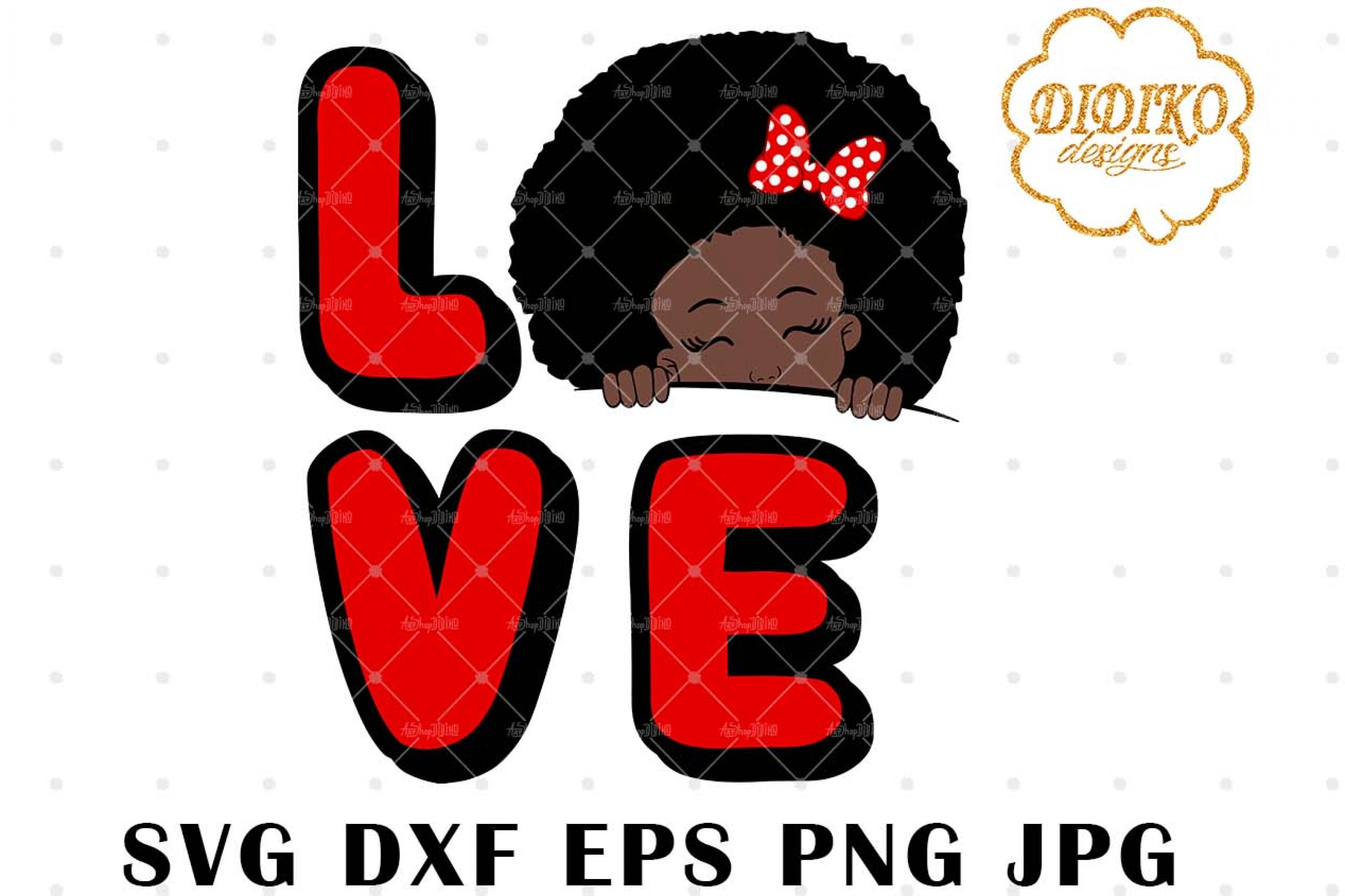 Afro Love Girl Peek A Boo 3 SVG, Afro Puff Girl SVG