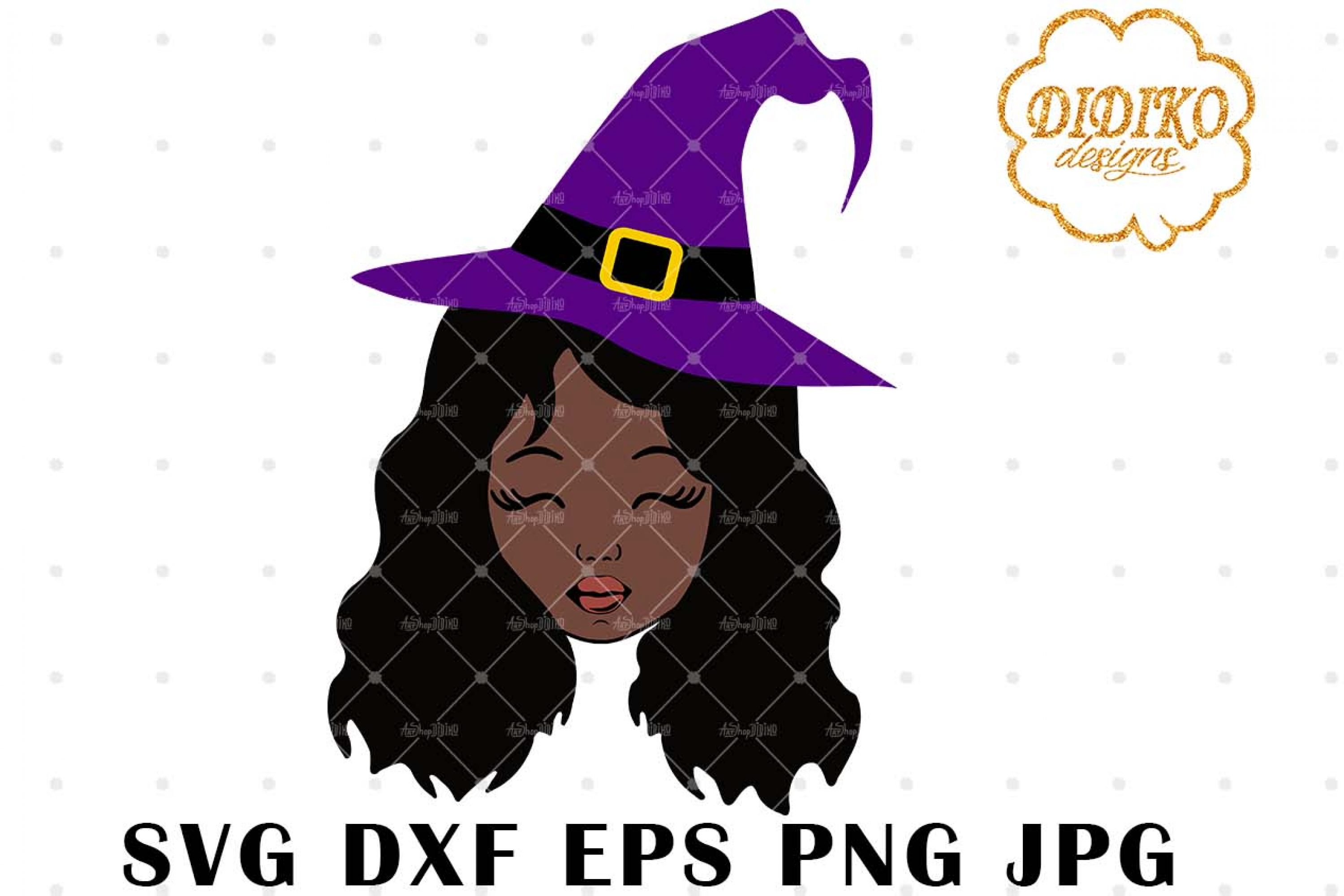 Halloween Afro Girl 5 SVG, Witch Hat SVG, Afro Puff svg