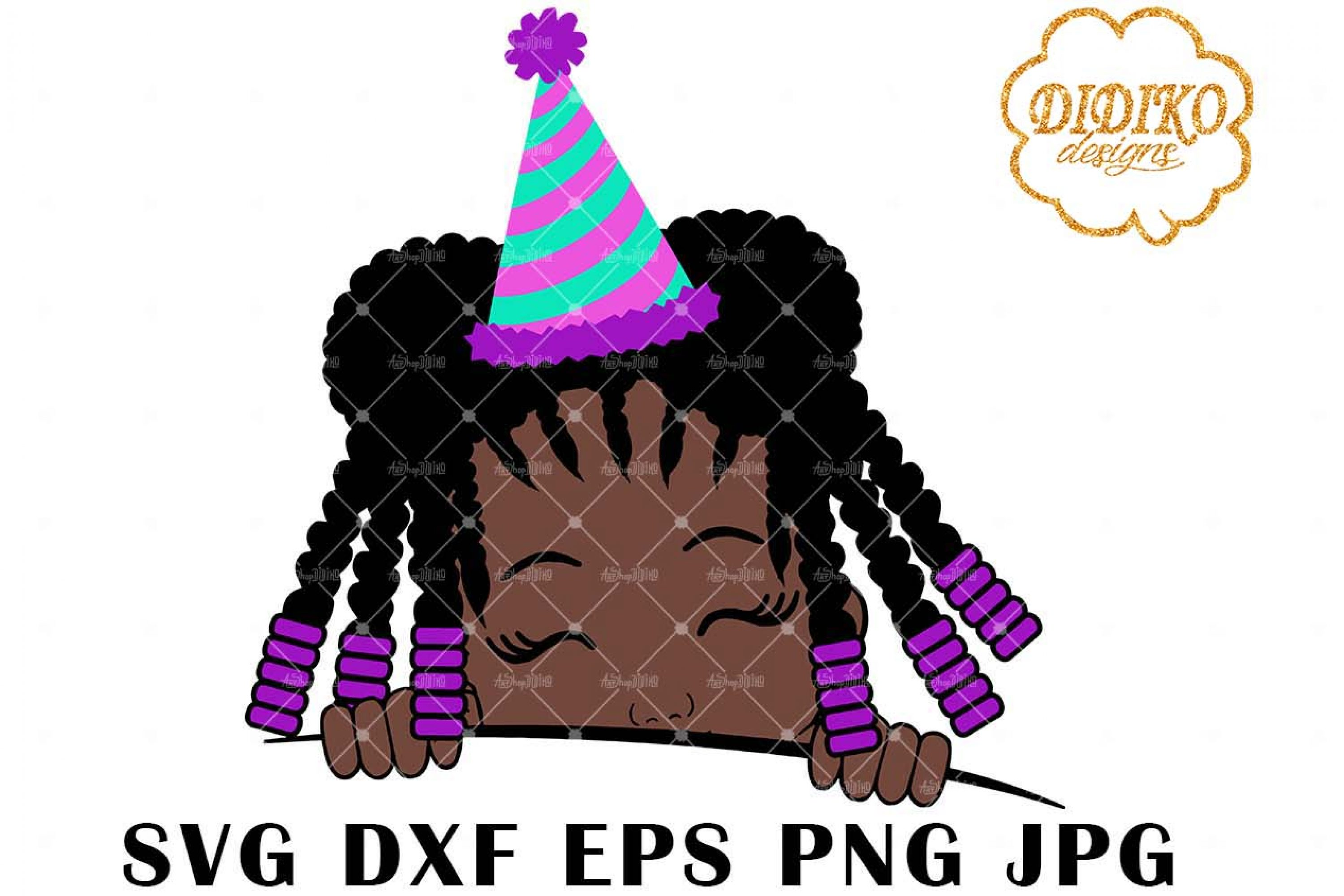 Afro Birthday Girl Peek A Boo 4 SVG, Afro Puff SVG